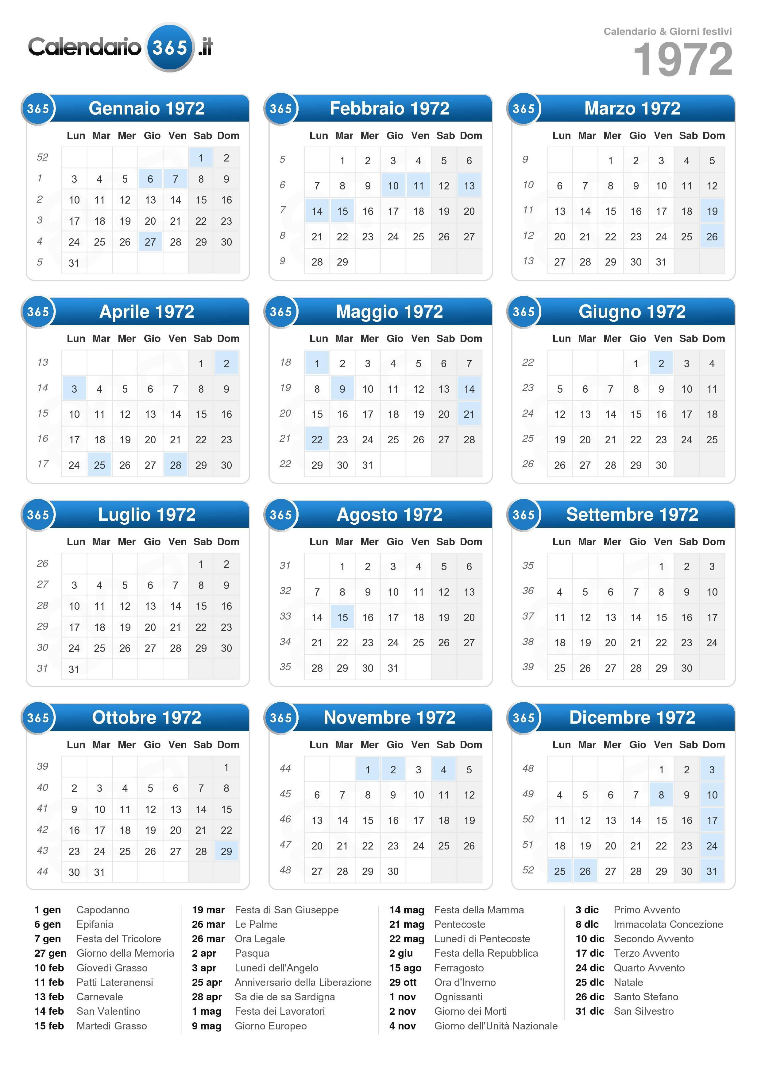 Calendario Maya Gravidanza.Calendario 1972