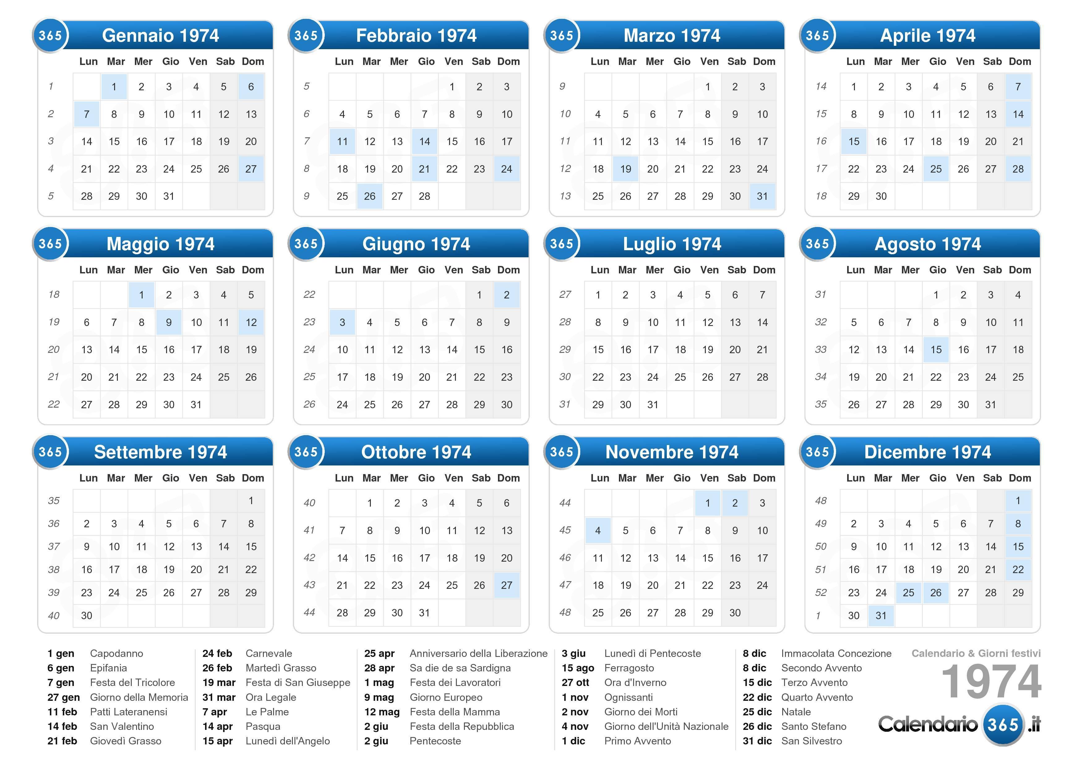 Calendario Anno 1974.Calendario 1974