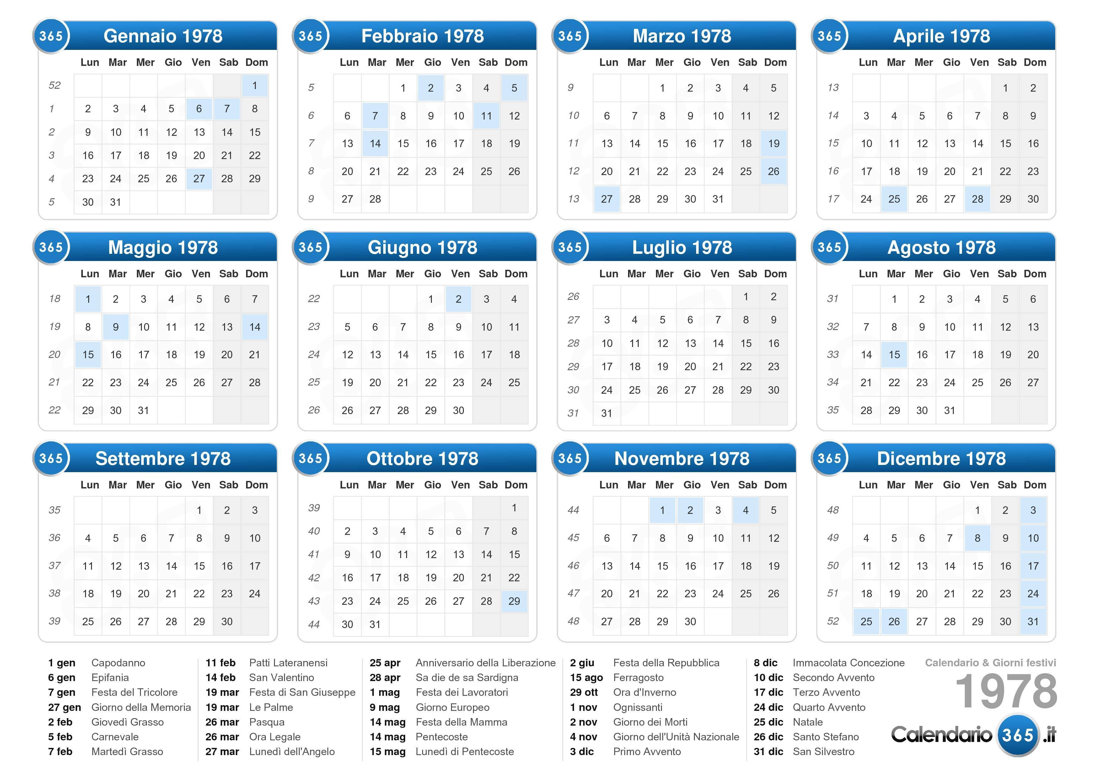 Calendario Lunare 1978.Calendario 1978