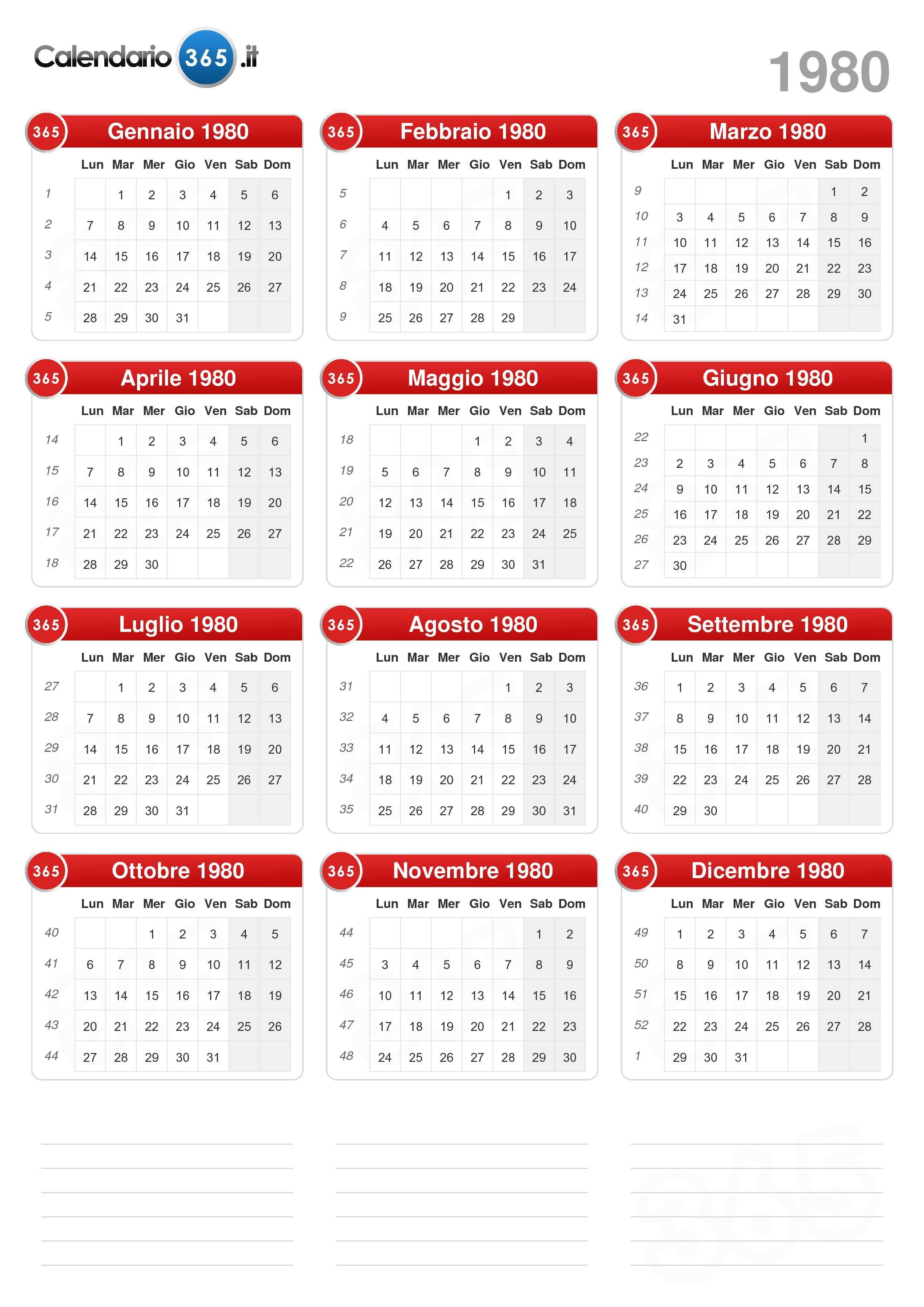 Calendario Anno 1980.Calendario 1980
