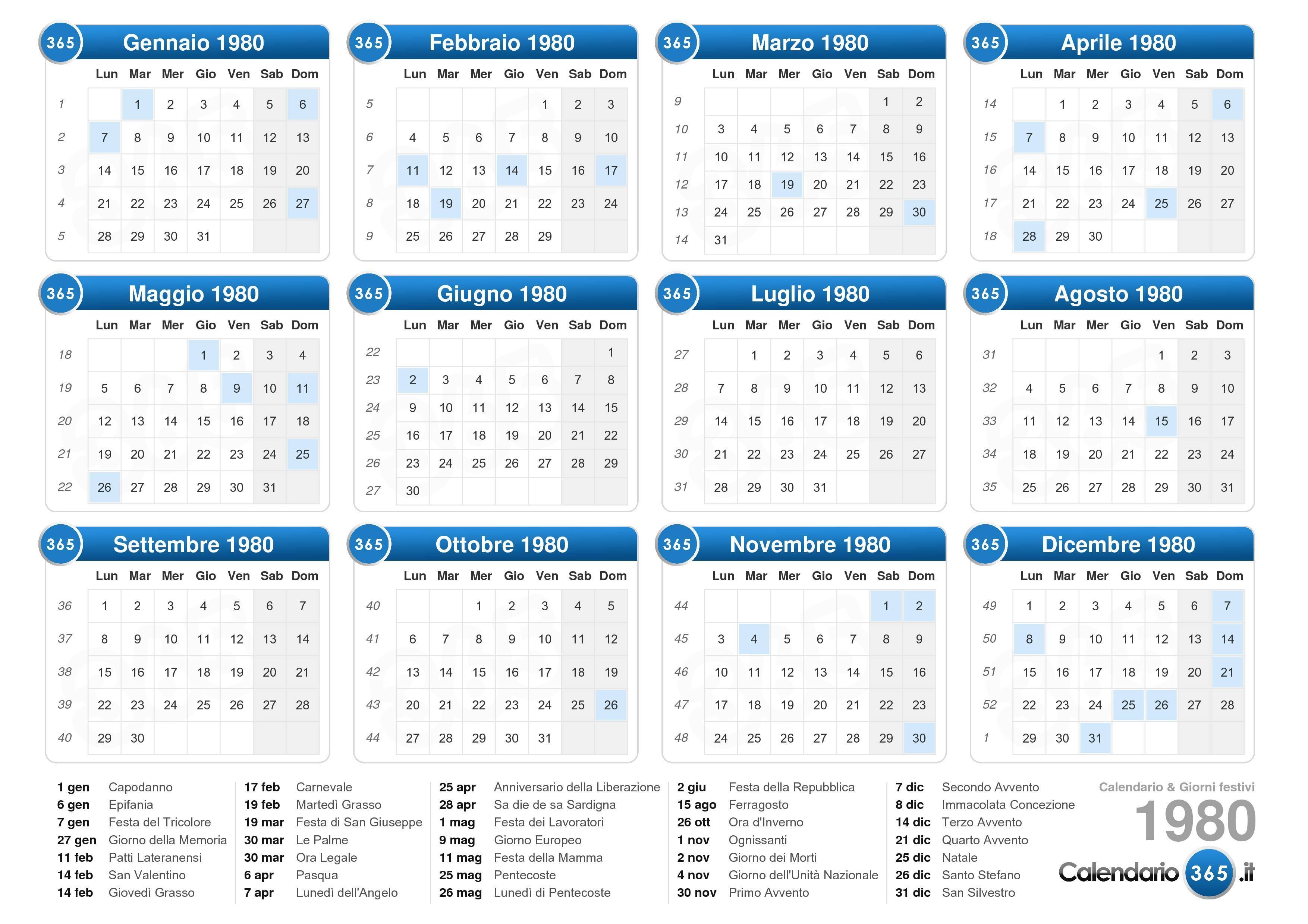 Calendario Lunare Marzo.Calendario Lunare 1980 Ikbenalles