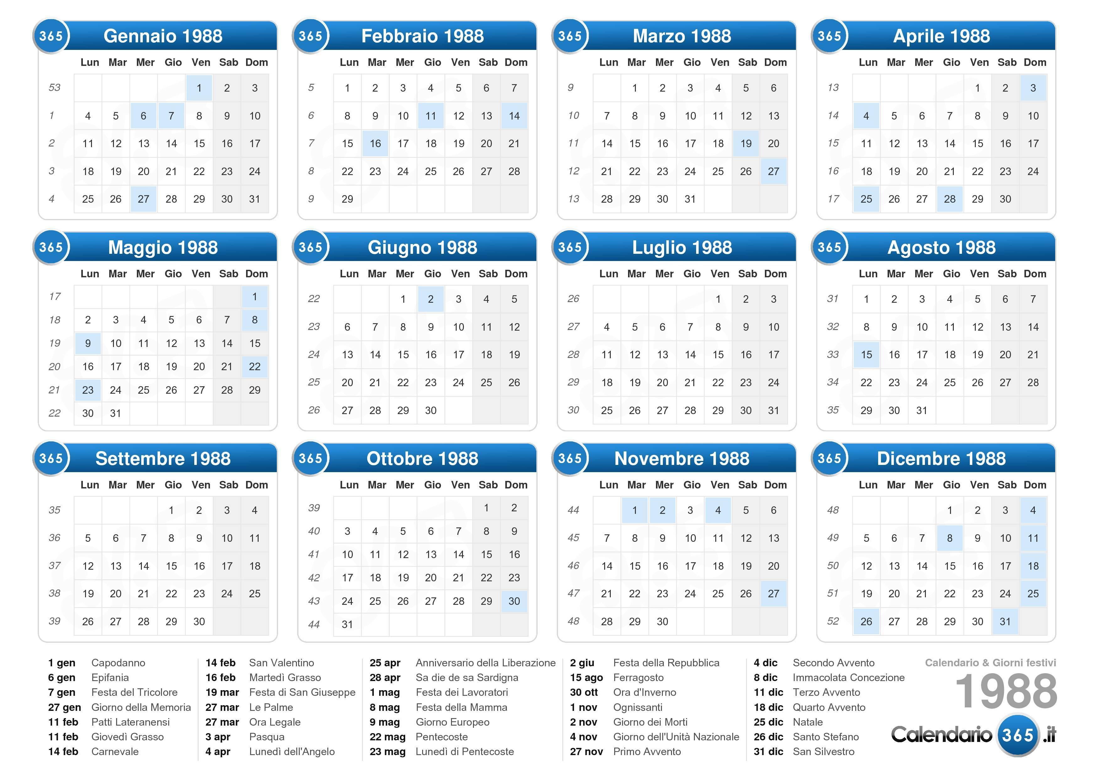 Calendario Lunare 1988.Calendario 1988