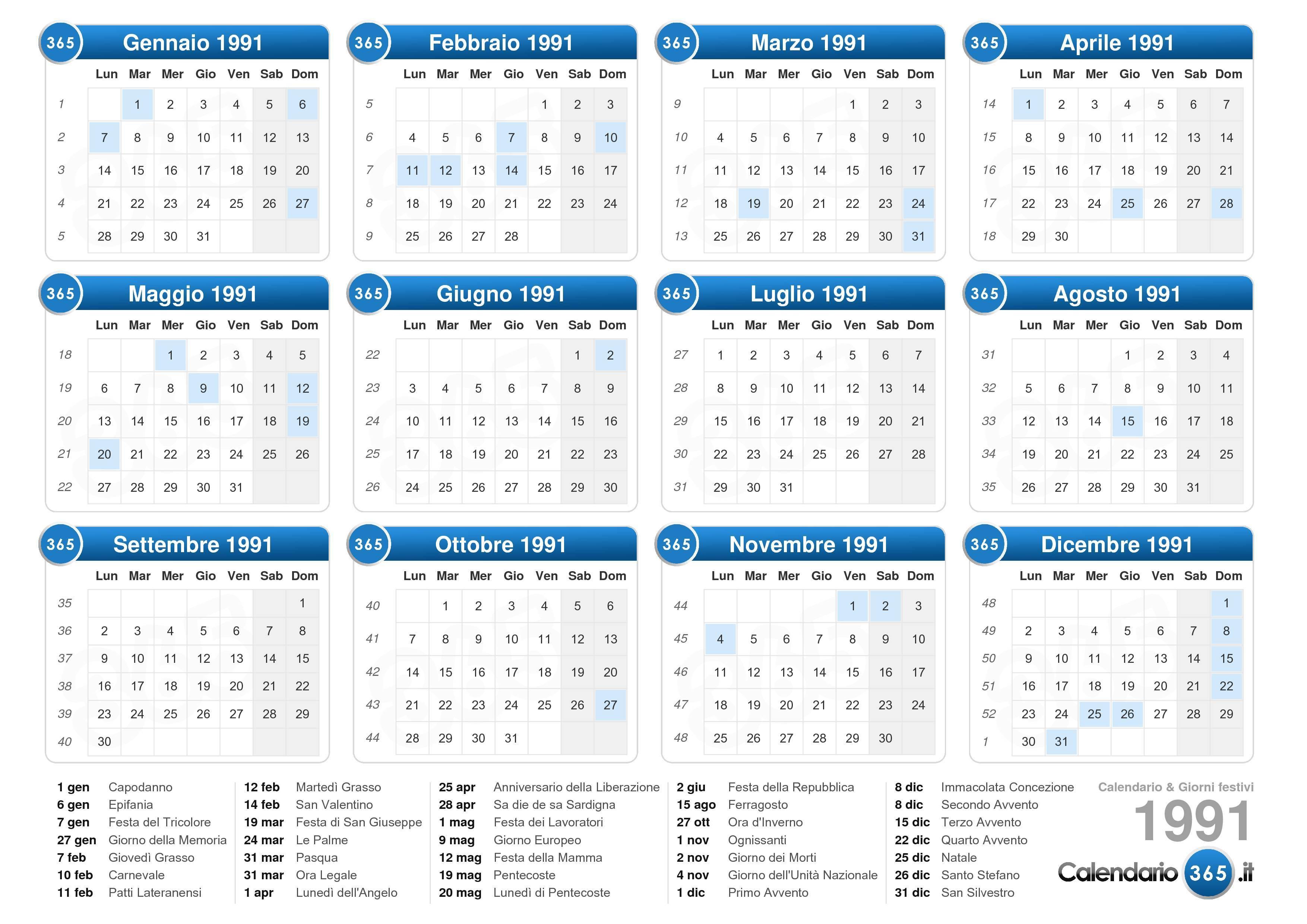 Calendario Anno 1992.Calendario 1991