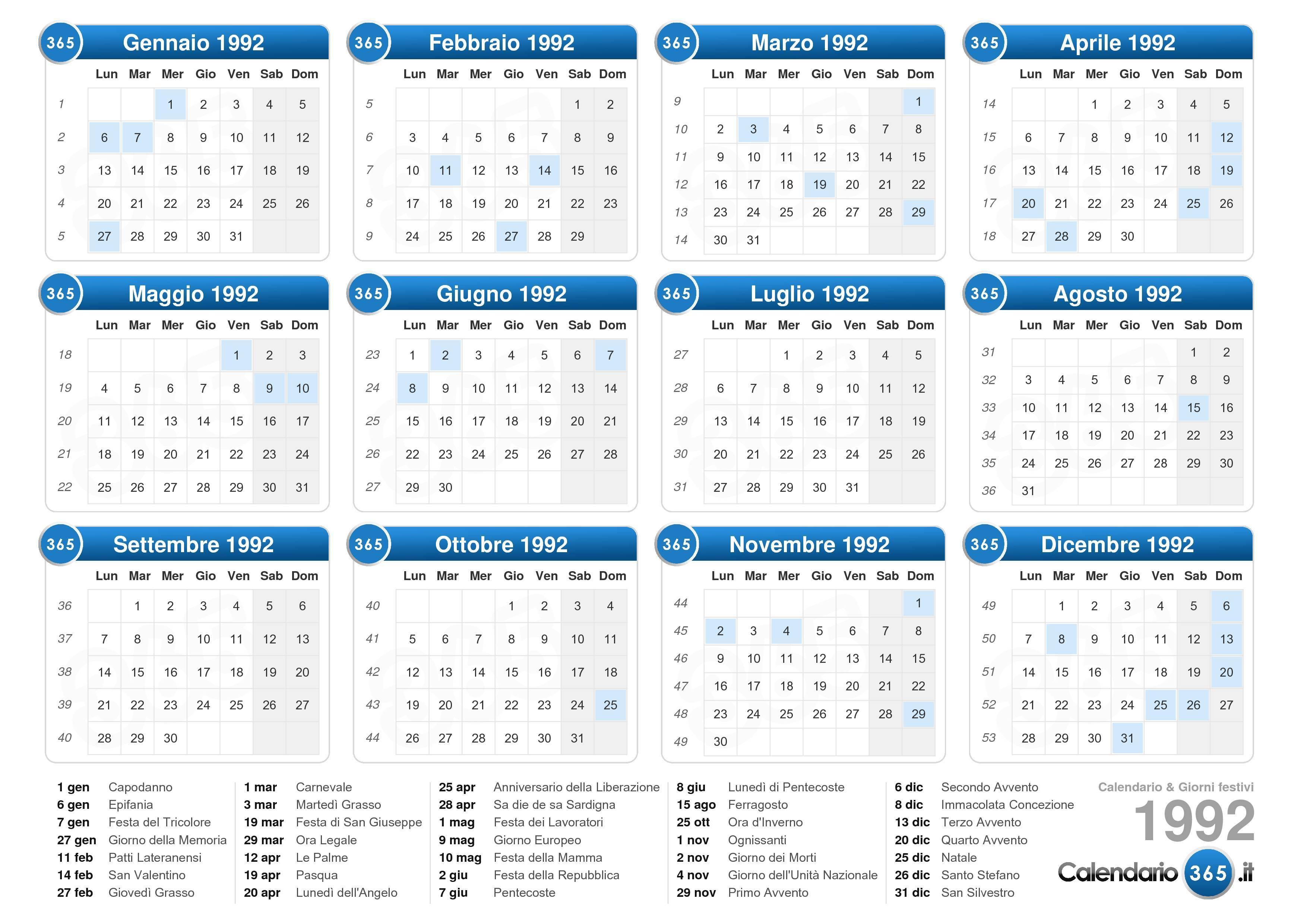 Calendario Anno 1992.Calendario 1992