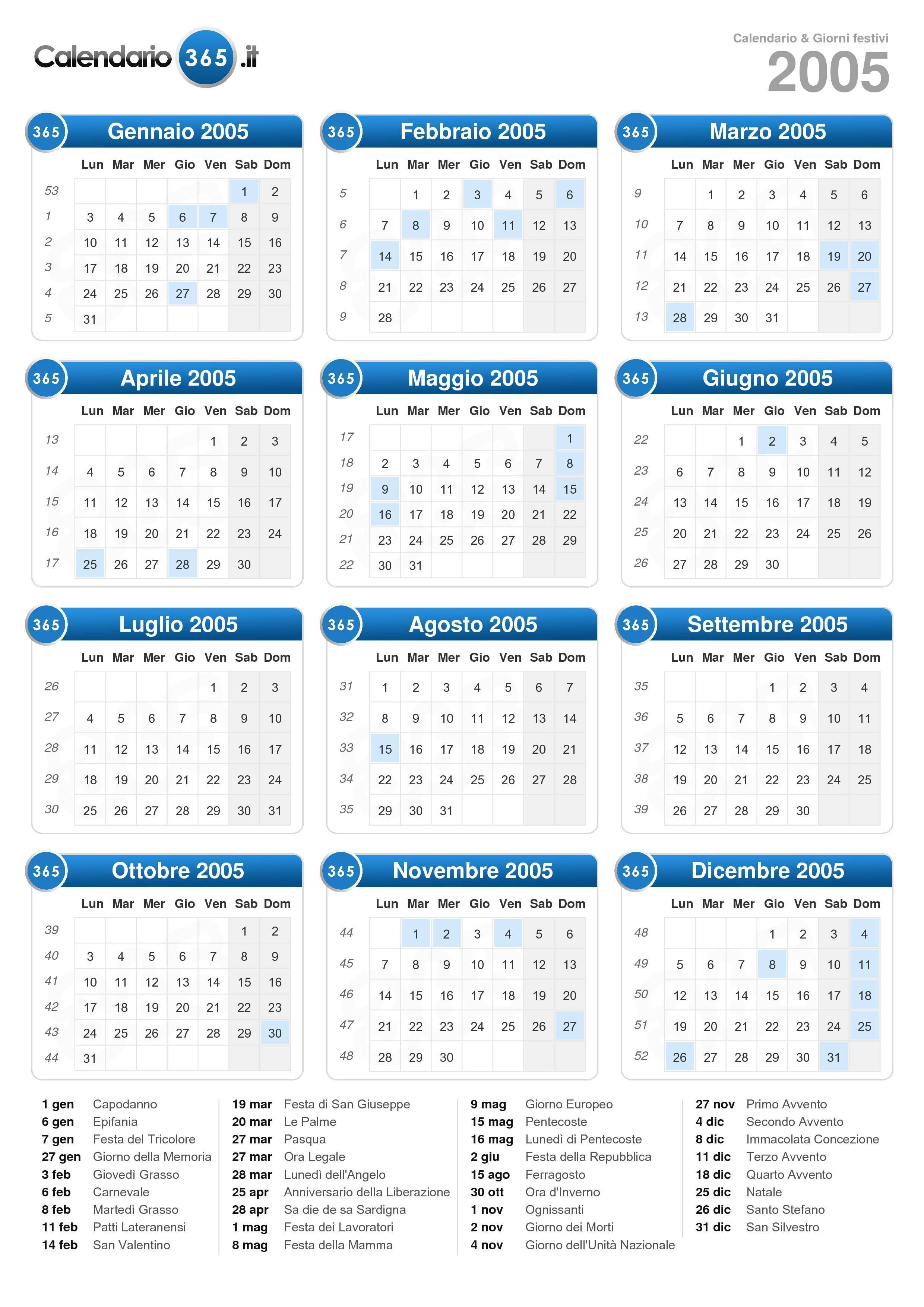 Calendario Lunare 2005.Calendario 2005