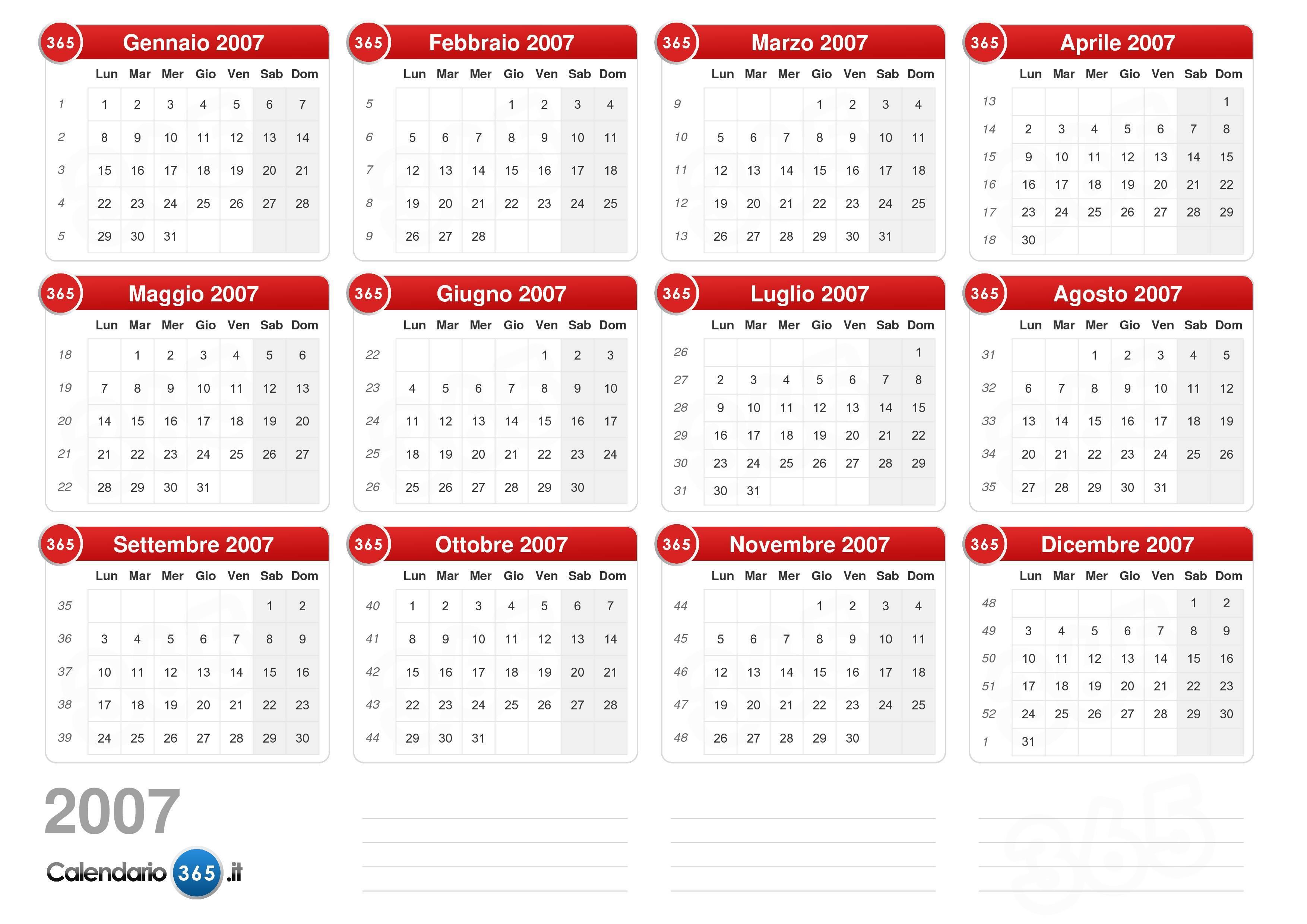 Calendario Luglio 2007.Calendario 2007