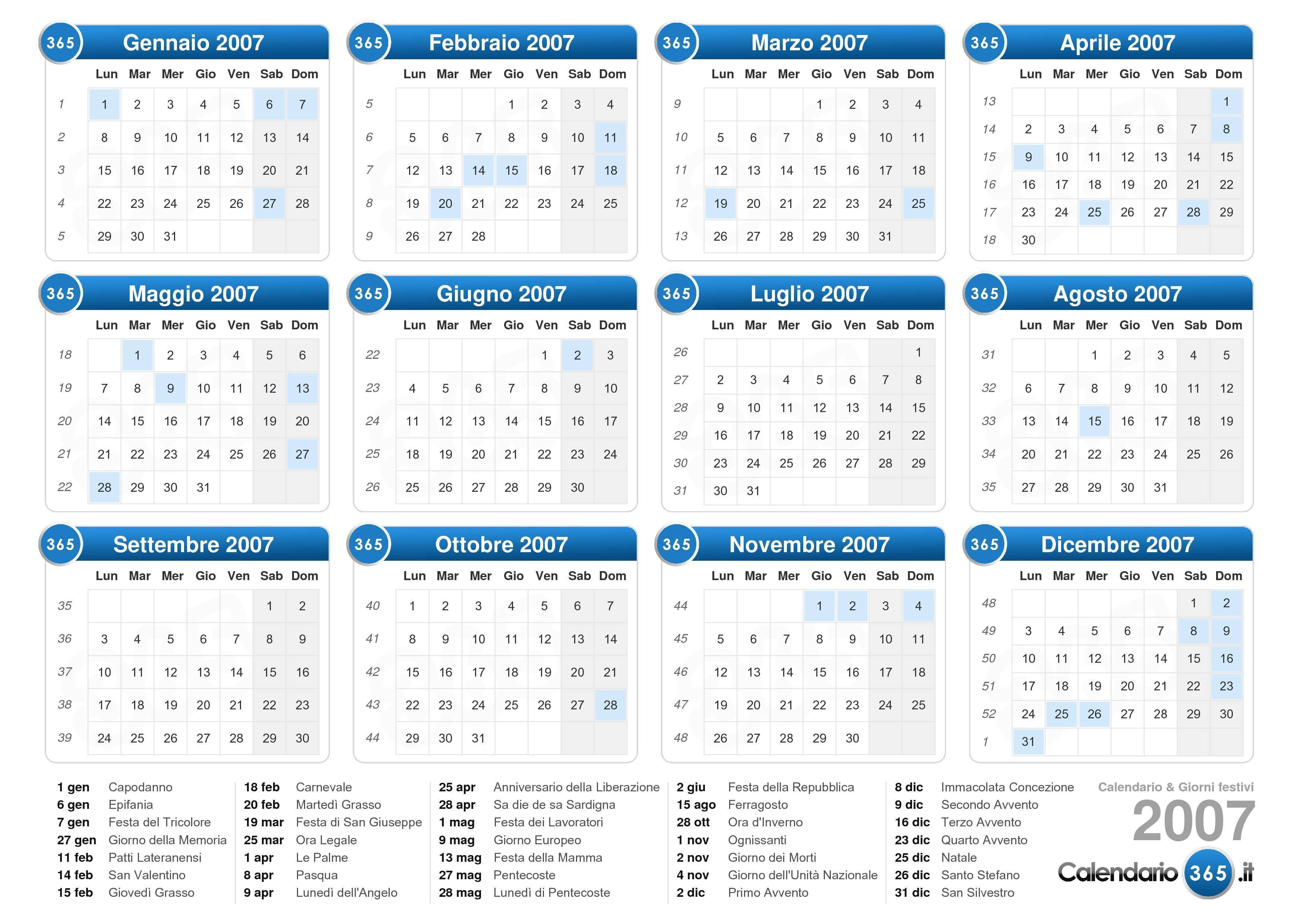 Calendario Settembre 2007.Calendario 2007