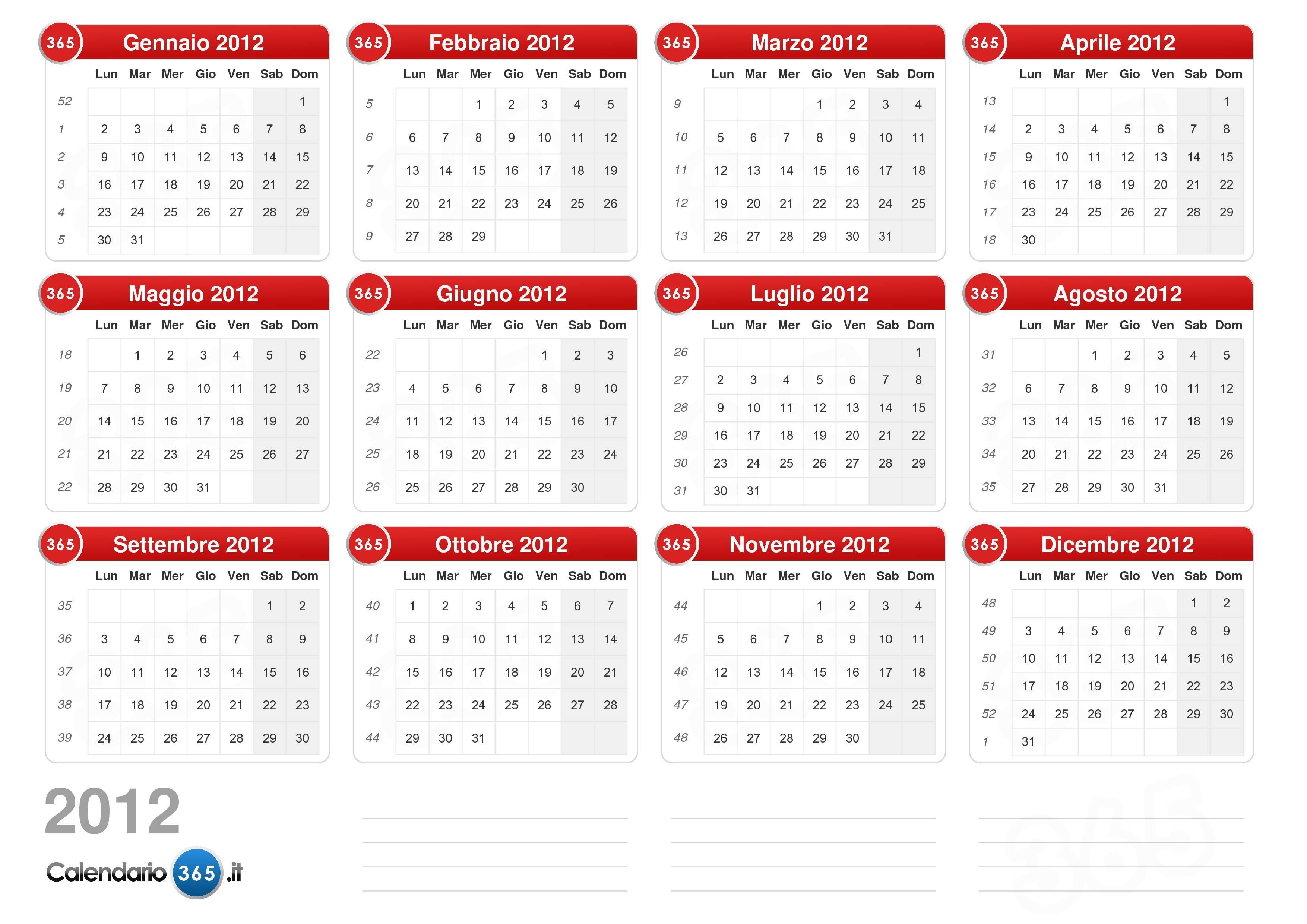 calendario mensile 2012 da