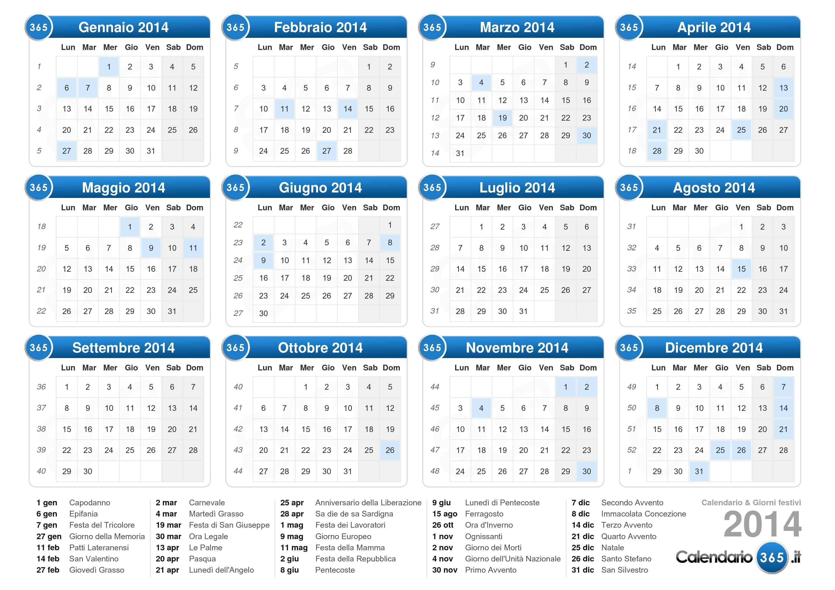 Calendario Gennaio 2015 - Con santi e fasi lunari