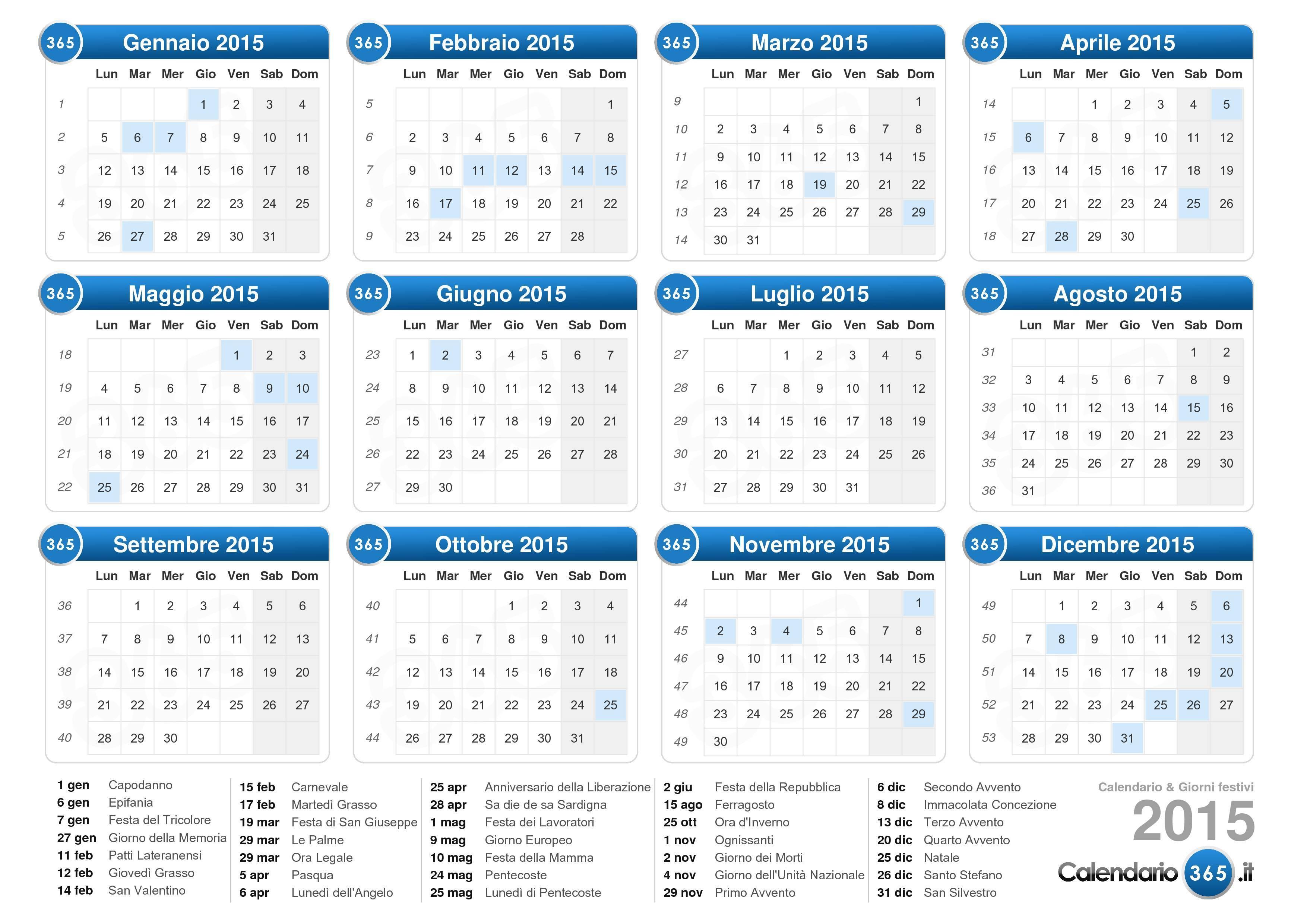 Calendario Anno 2015.Calendario 2015
