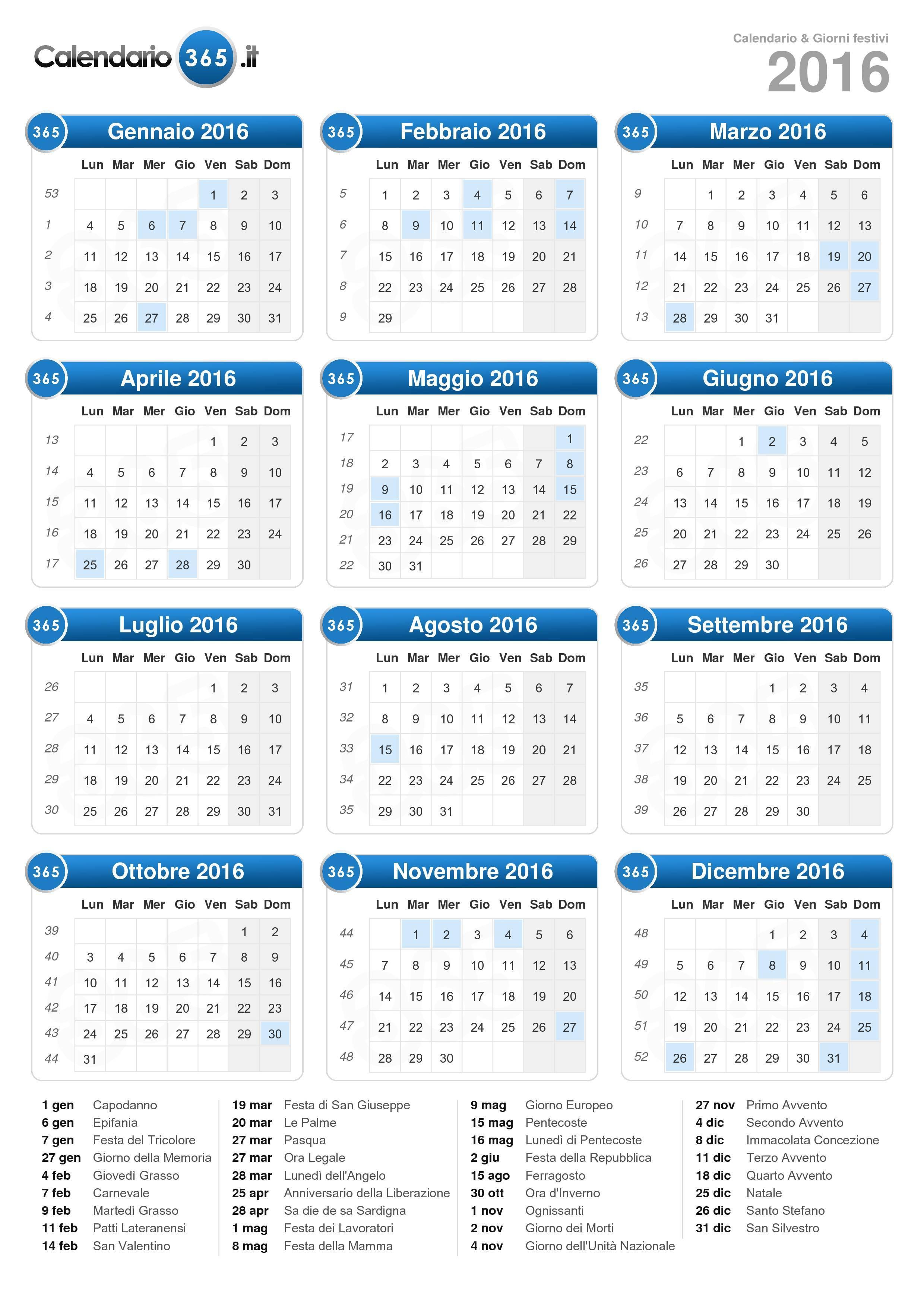 Calendario 31 Luglio.Calendario 2016