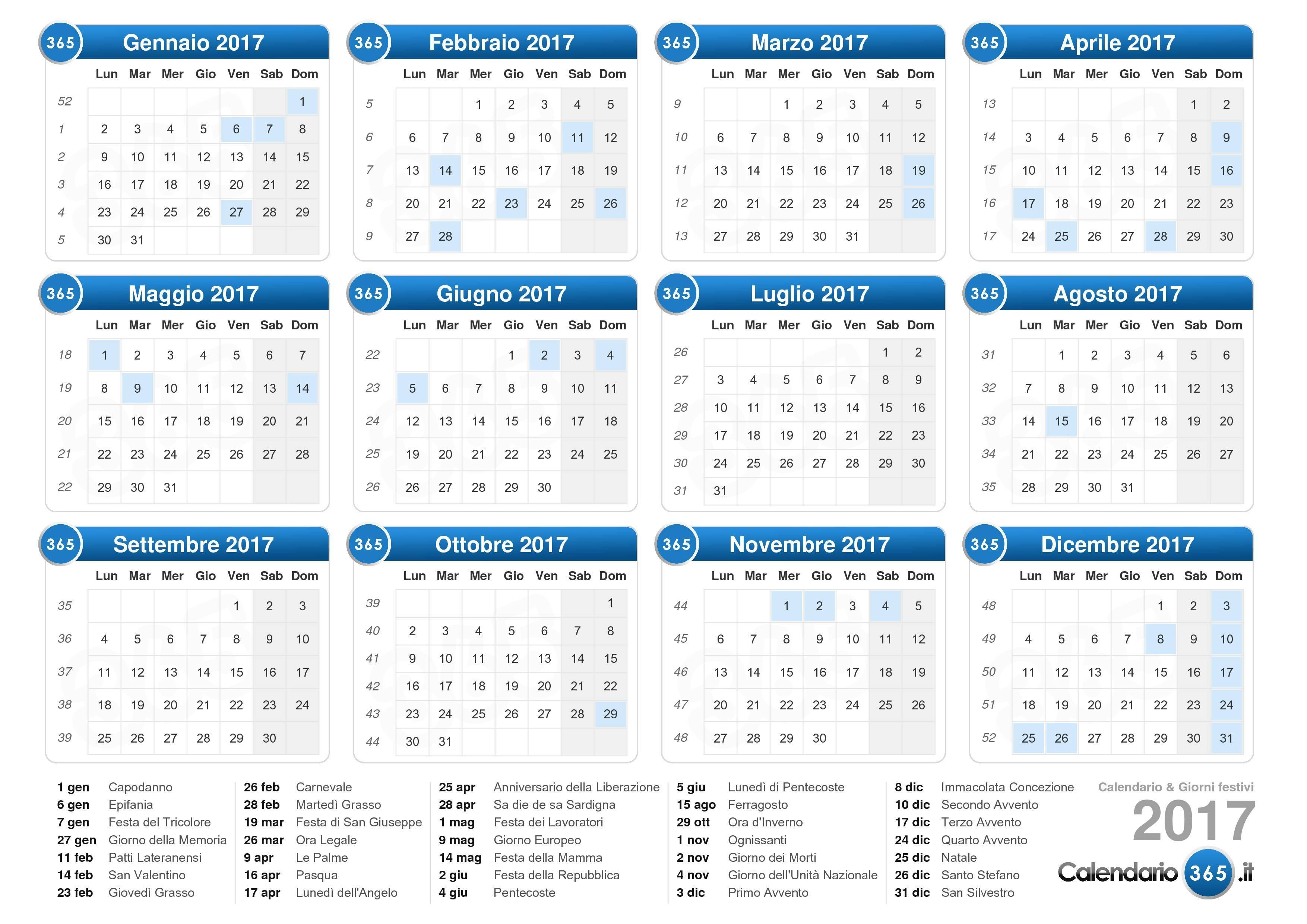 Scarica il Calendario 2017 con giorni festivi . (Formato orizzontale ...