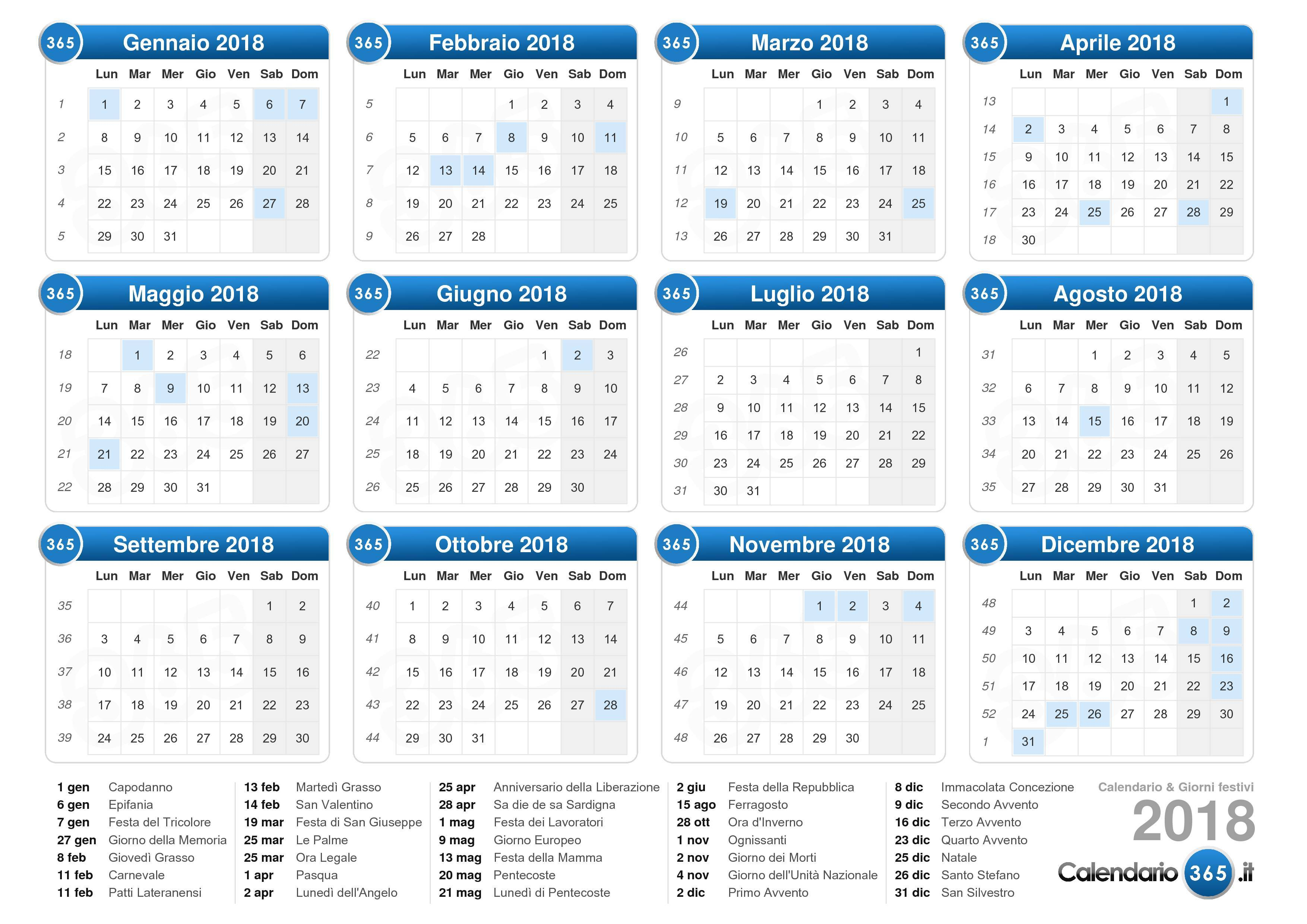 Calendario Solo Numeri.Calendario 2018