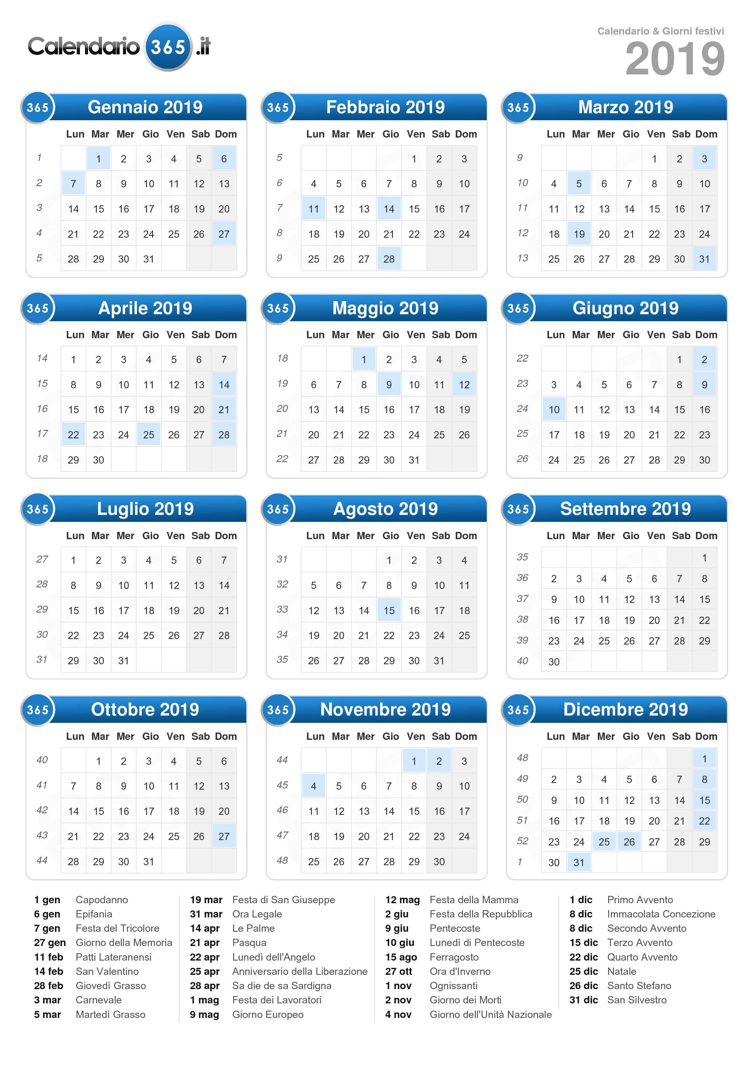 Calendario Annuale Da Stampare 2019.Calendario 2019