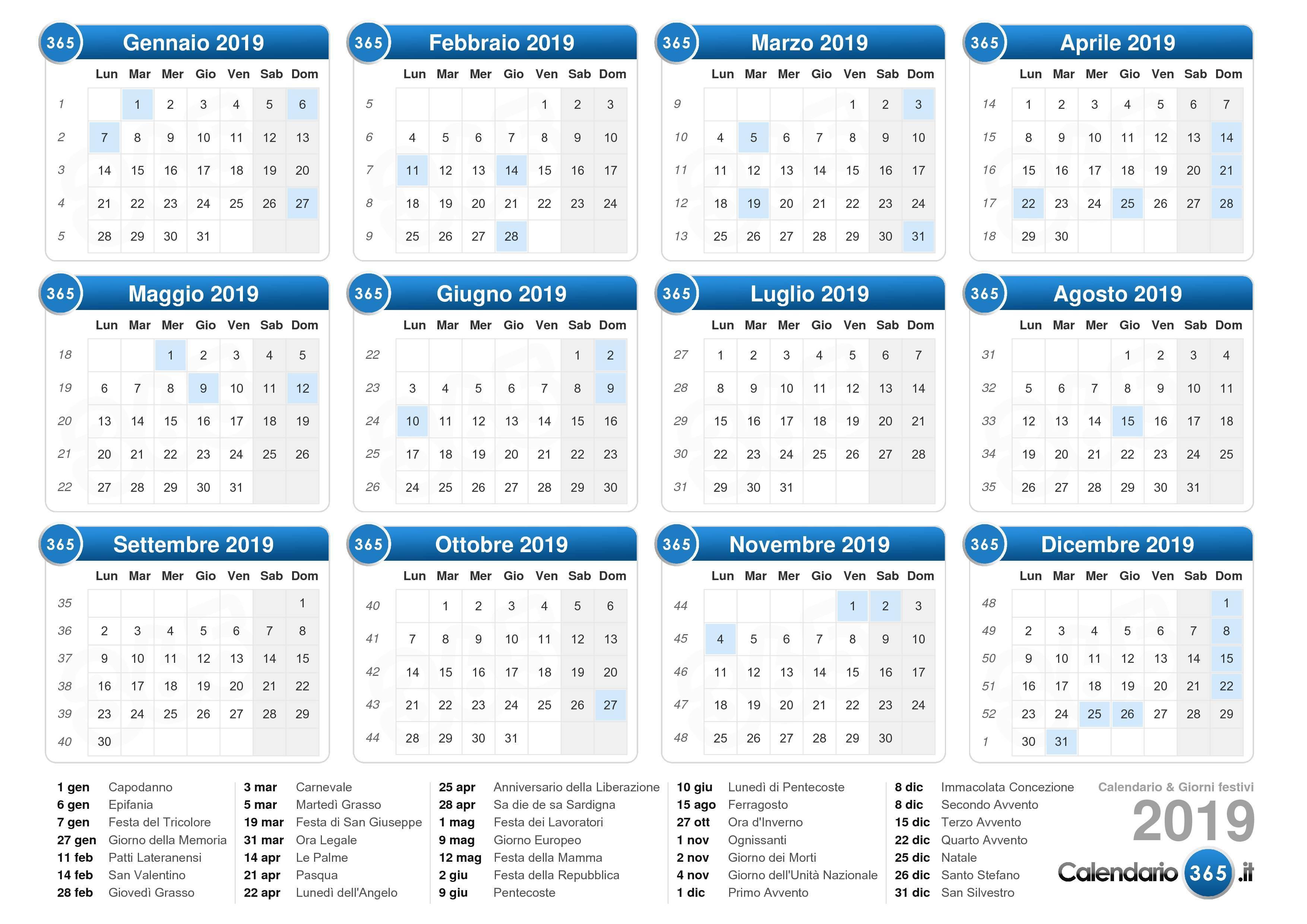 Calendario Mese Dicembre 2019.Calendario 2019