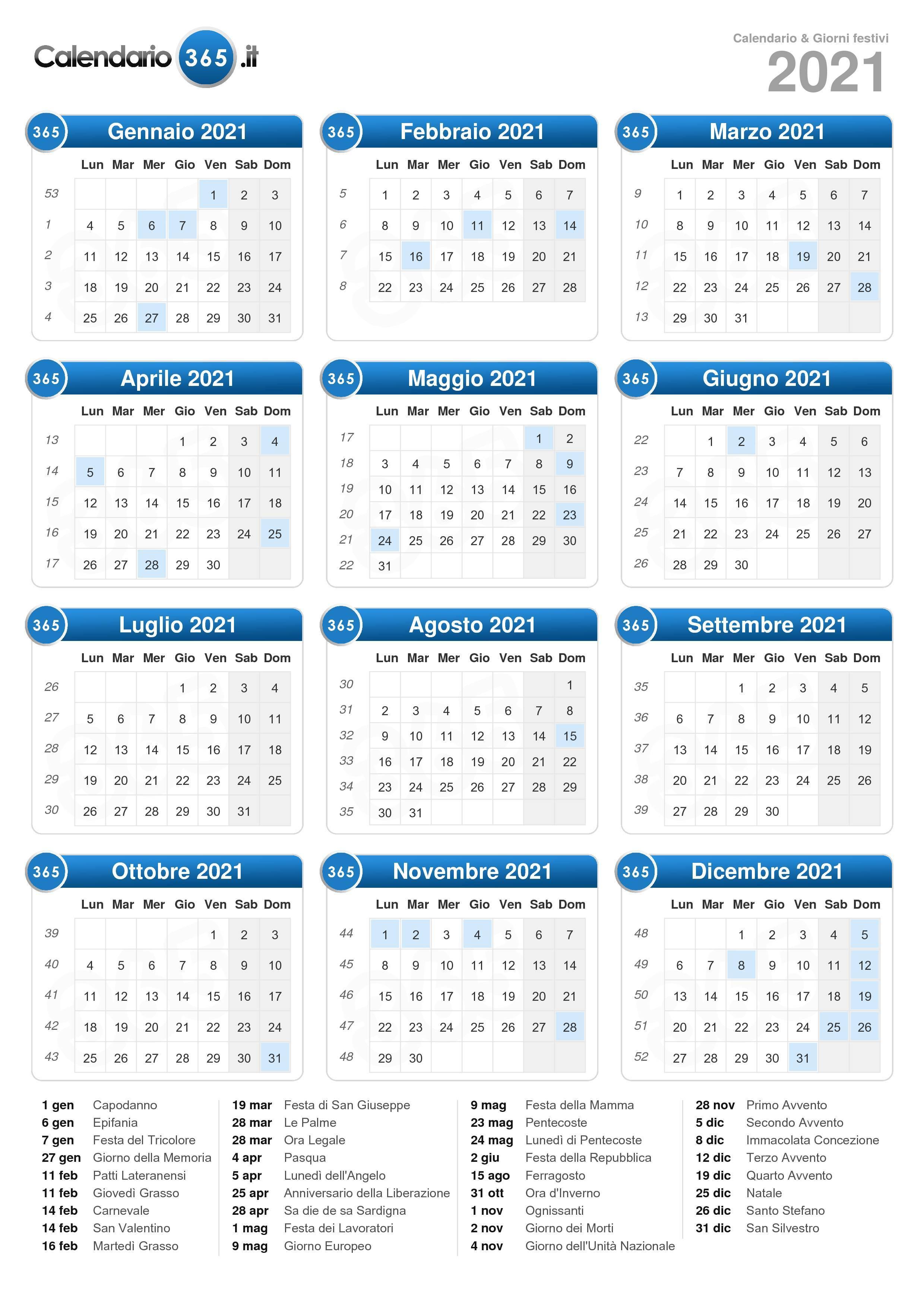 Calendario 2020 Da Stampare Semestrale.Calendario 2021
