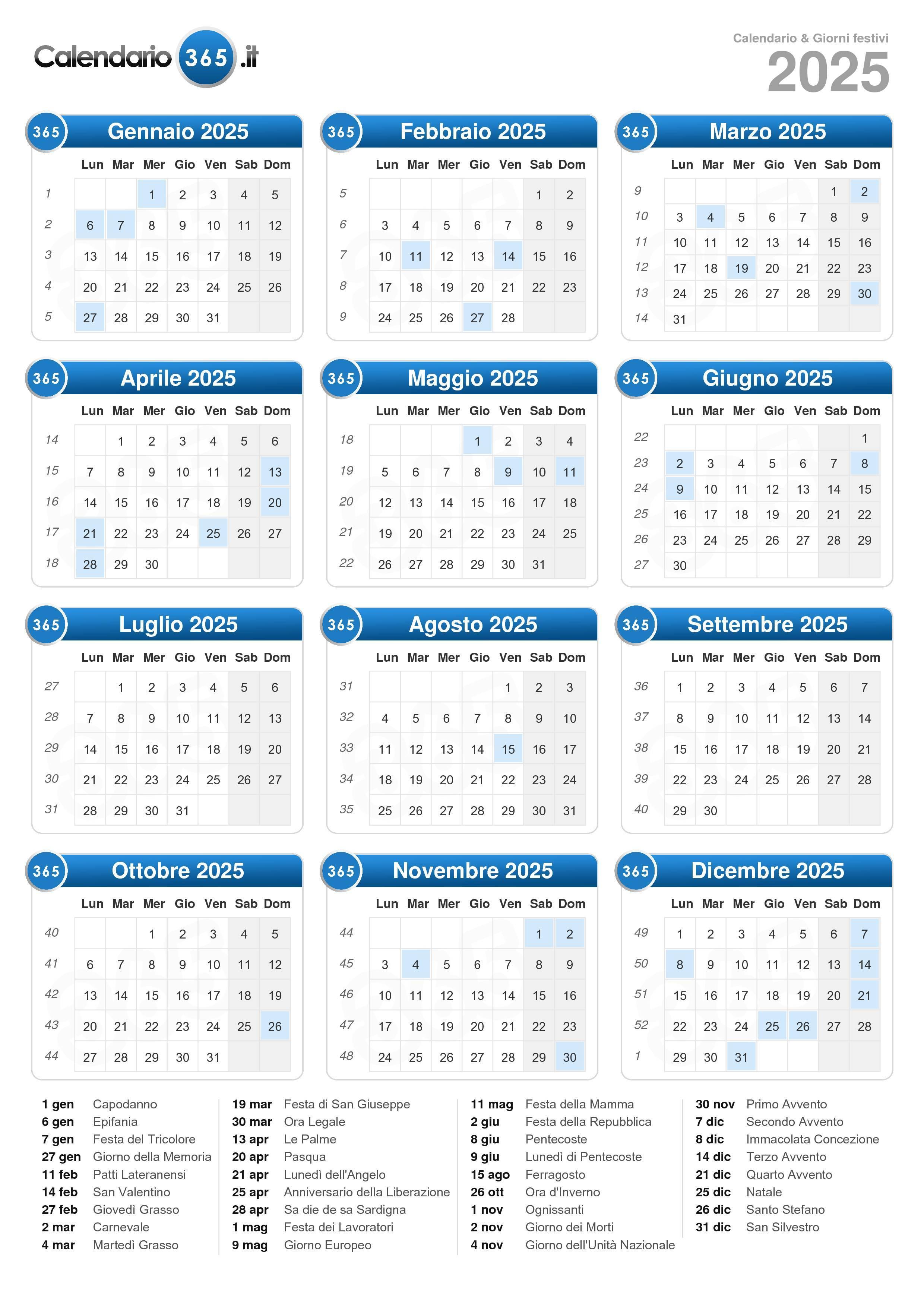 Calendario Repubblica.Calendario 2025