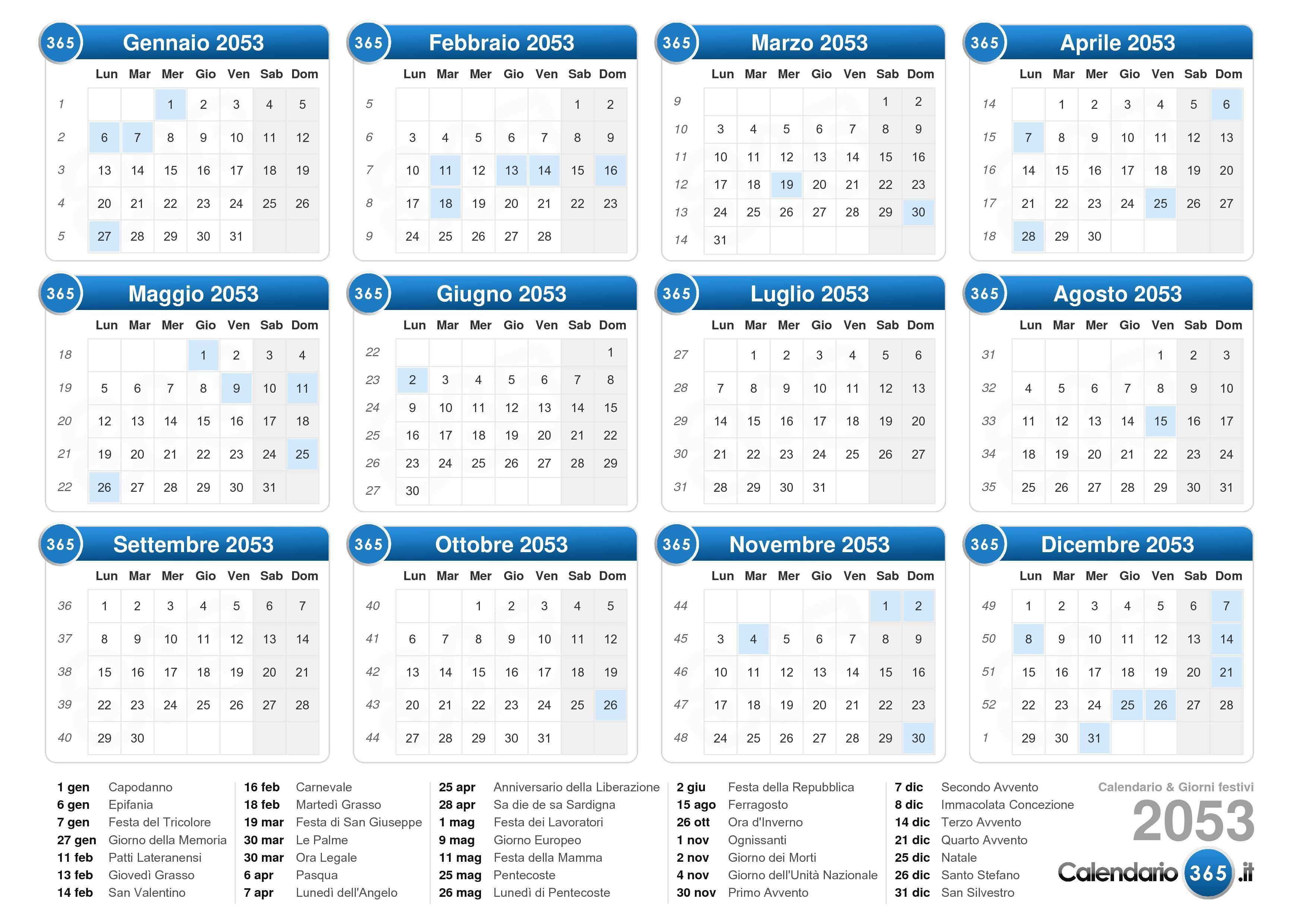 Calendario Lunare Capelli Giugno 2020.Calendario 2053