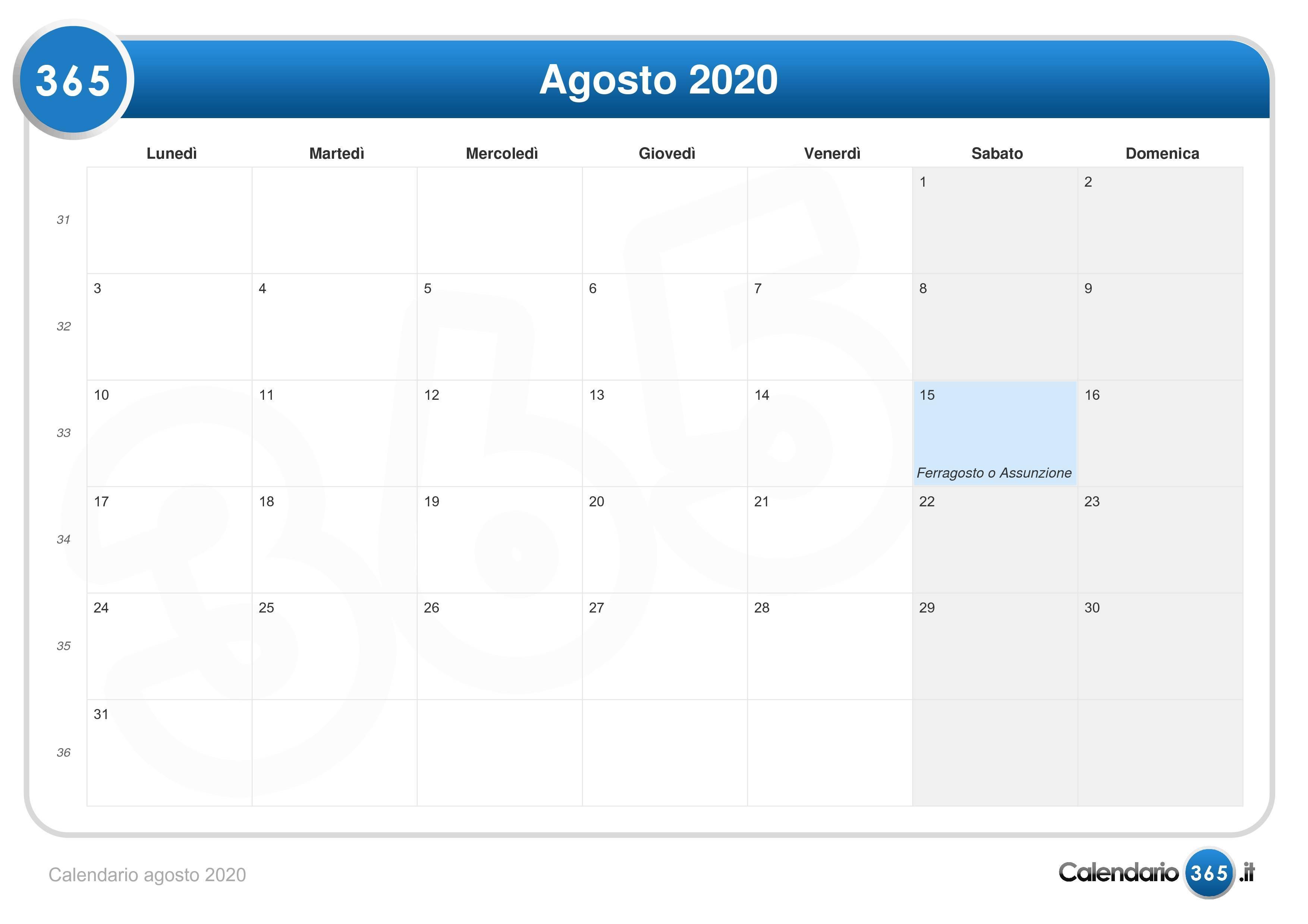 Agosto 2020 Calendario.Calendario Agosto 2020