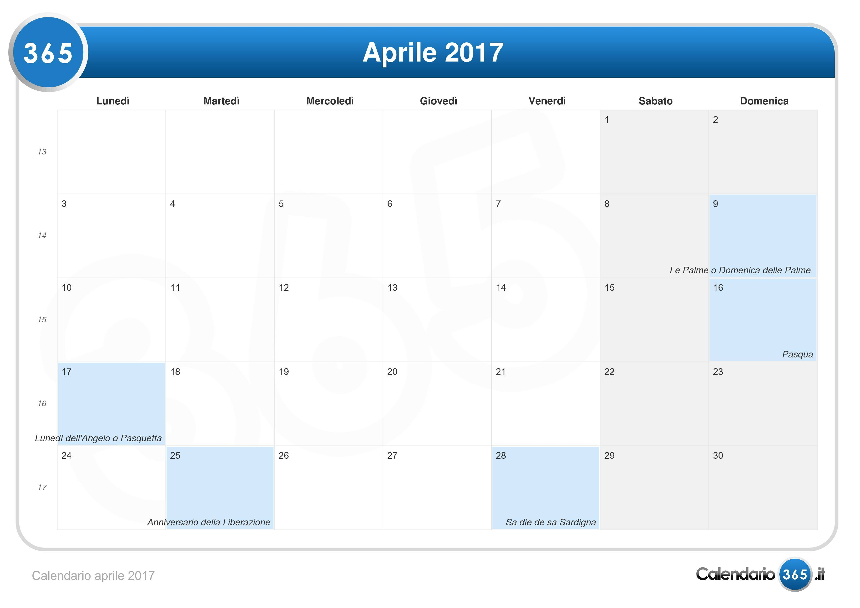 Calendario aprile 2017 for Calendario eventi milano 2017