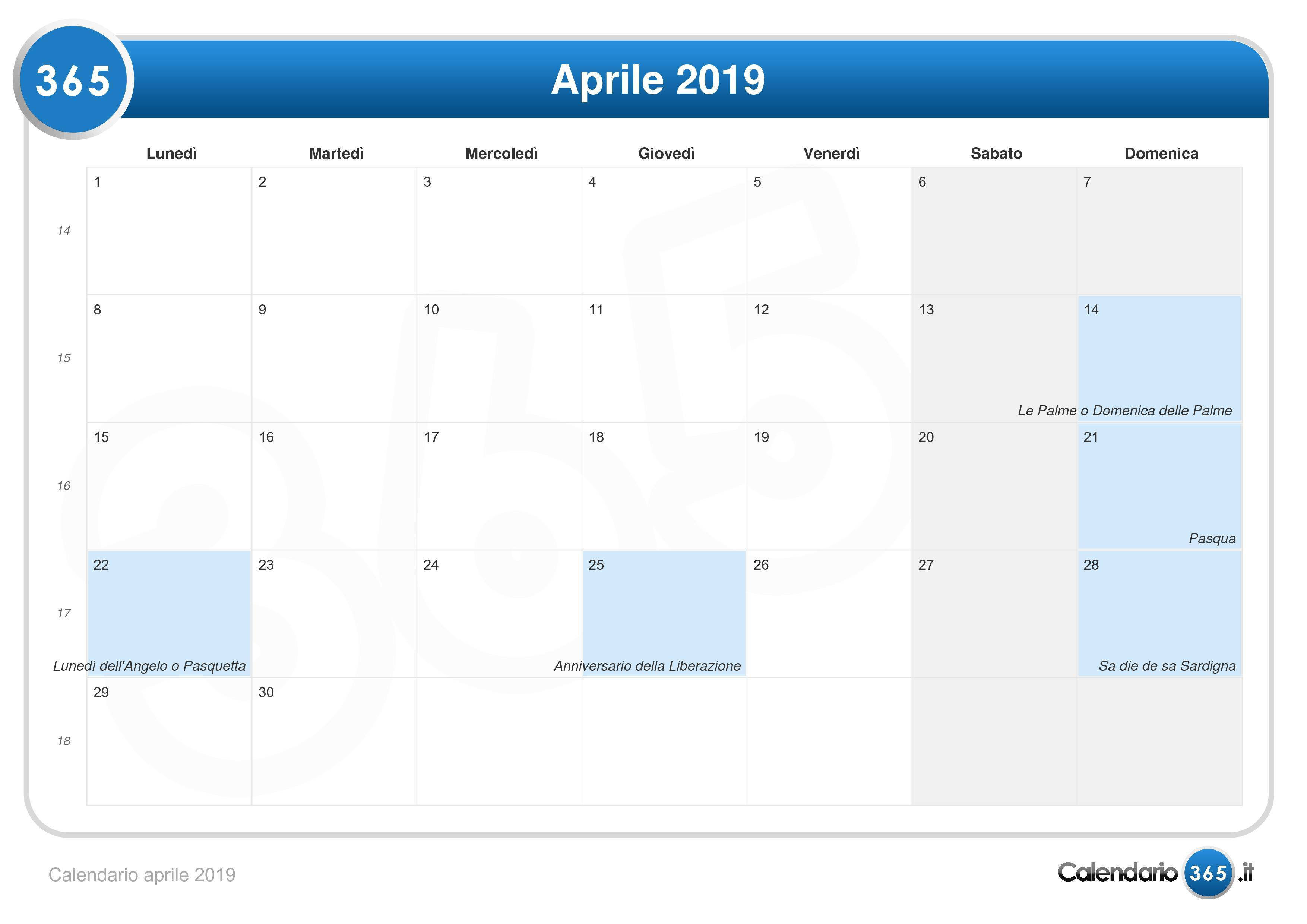 Calendario Con Festivita 2019.Calendario Aprile 2019