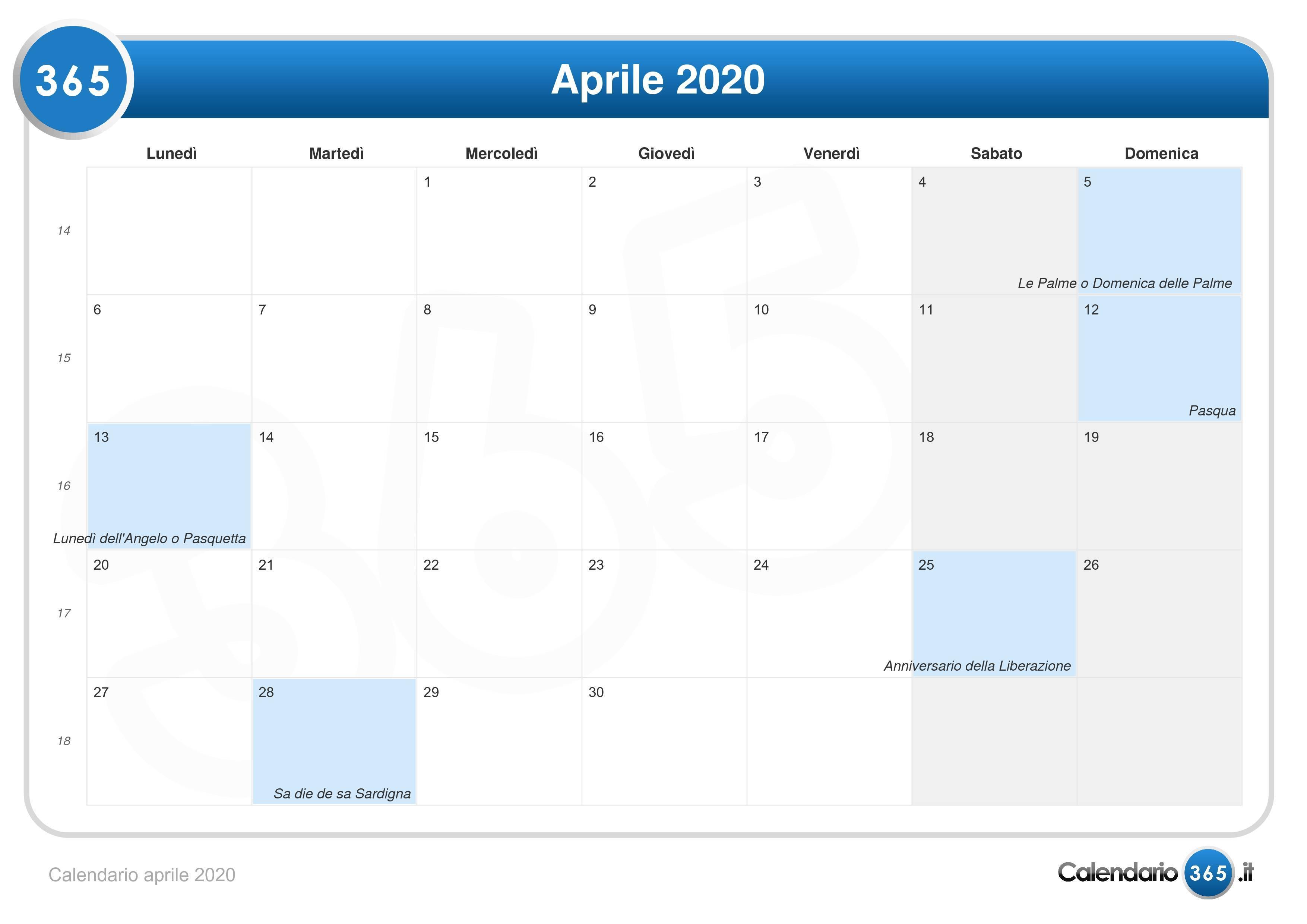 Calendario Italiano 2020 Con Festivita.Calendario Aprile 2020