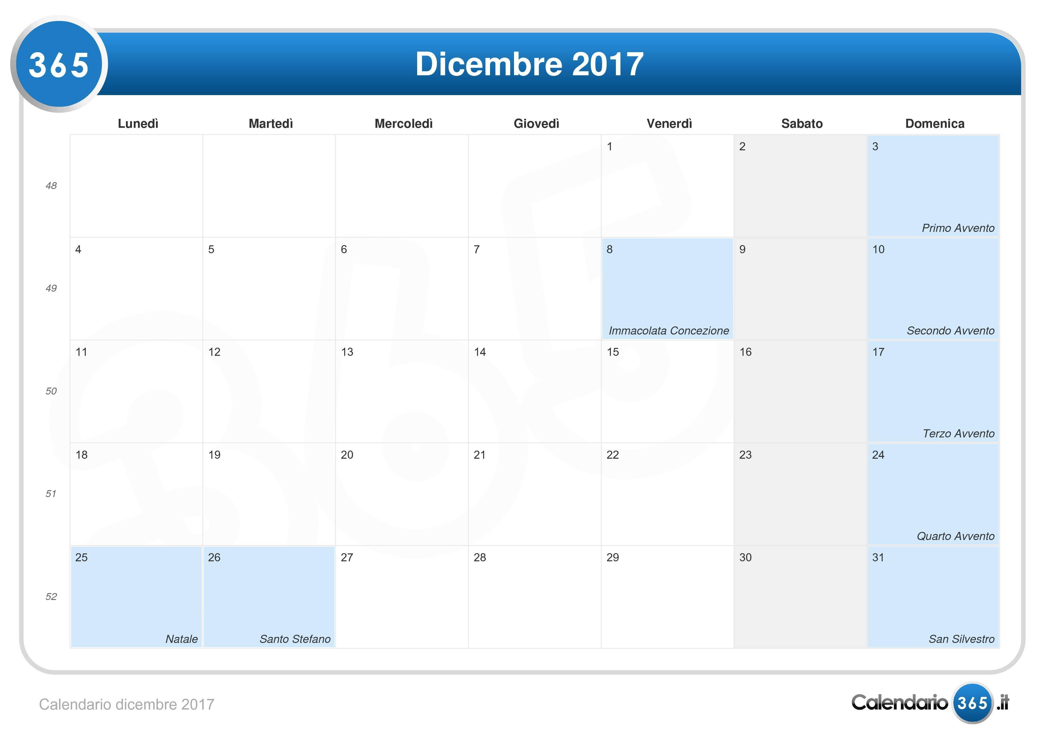 Calendario Lunare Dicembre 2017.Calendario Dicembre 2017