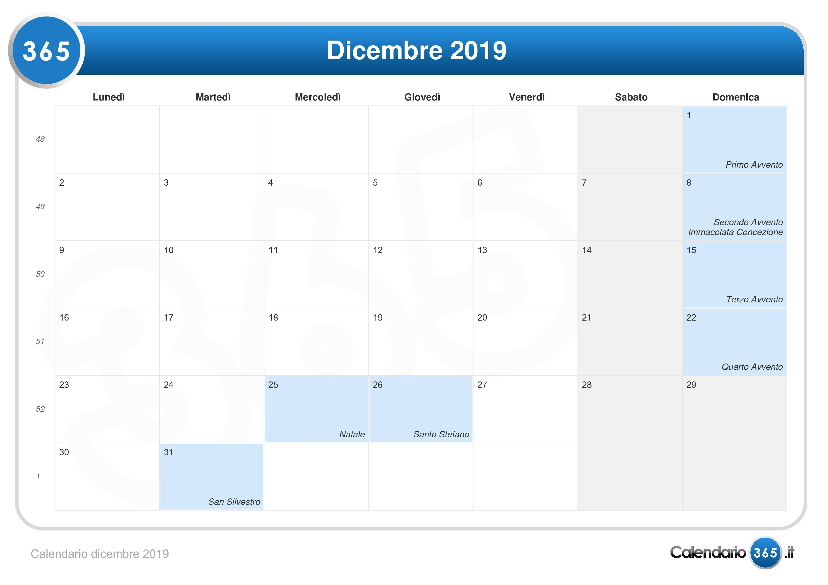 Calendario Mese Dicembre 2019.Calendario Dicembre 2019