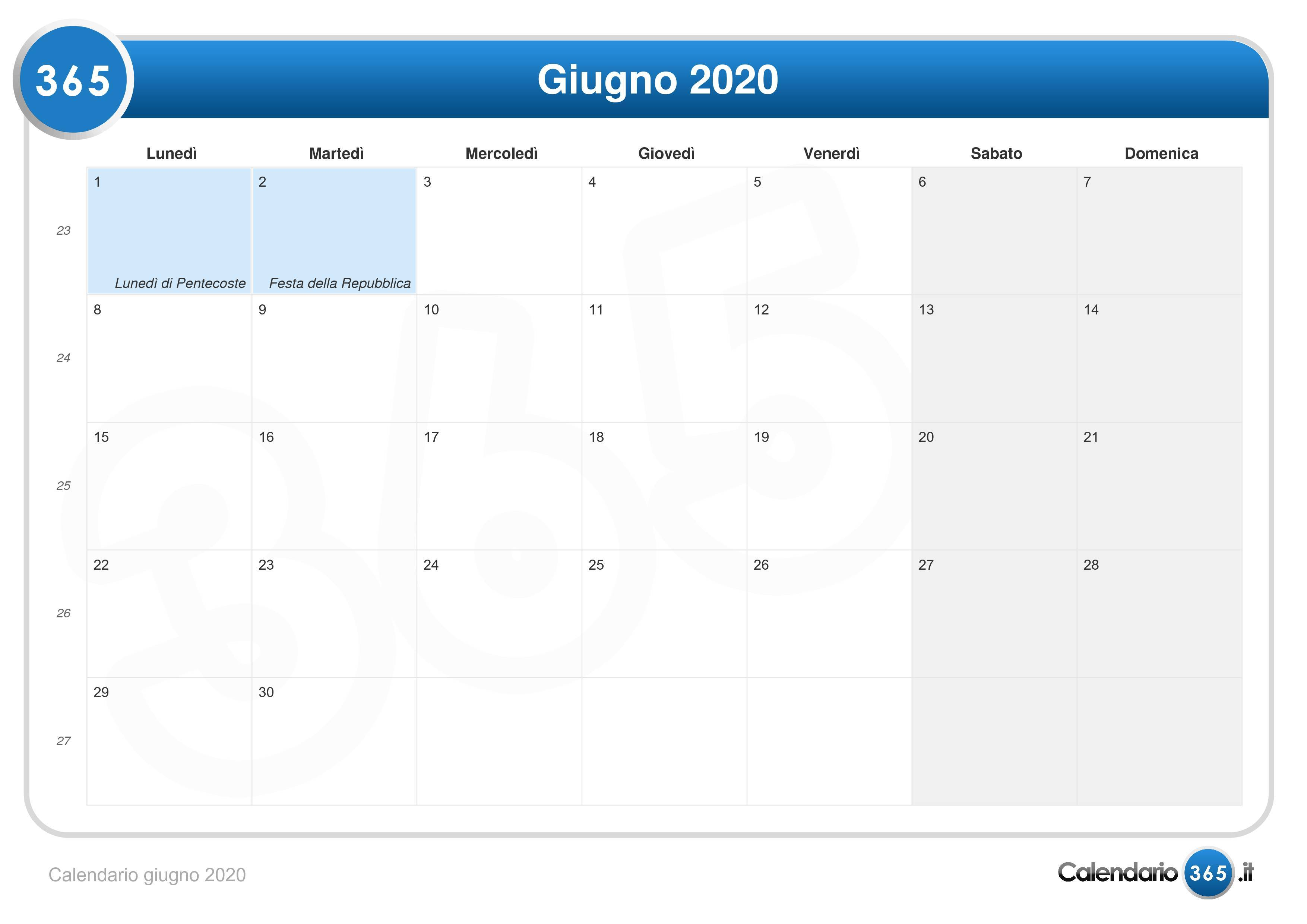Calendario Da Settembre 2019 A Giugno 2020.Calendario Giugno 2020