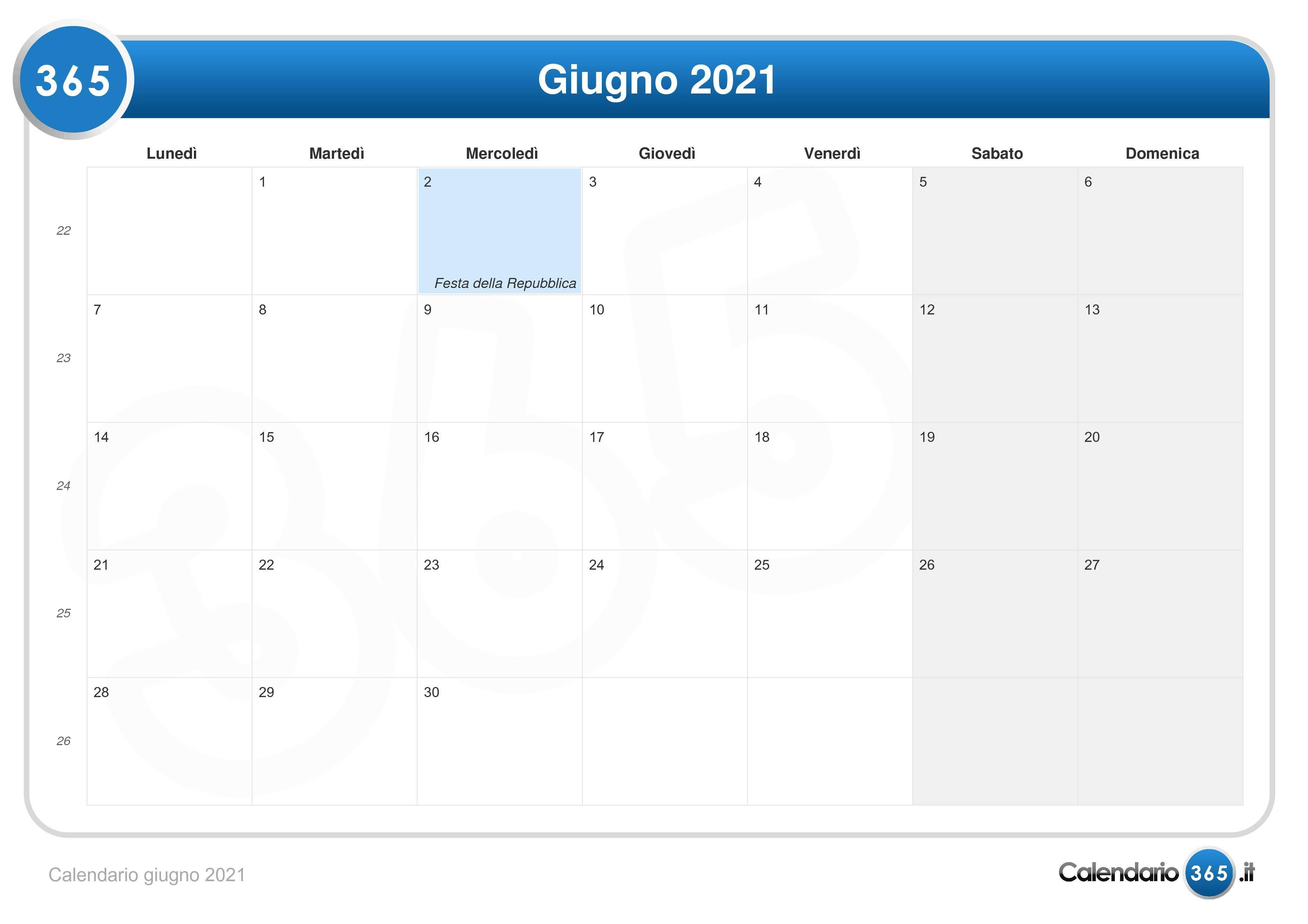 Calendario giugno 2021