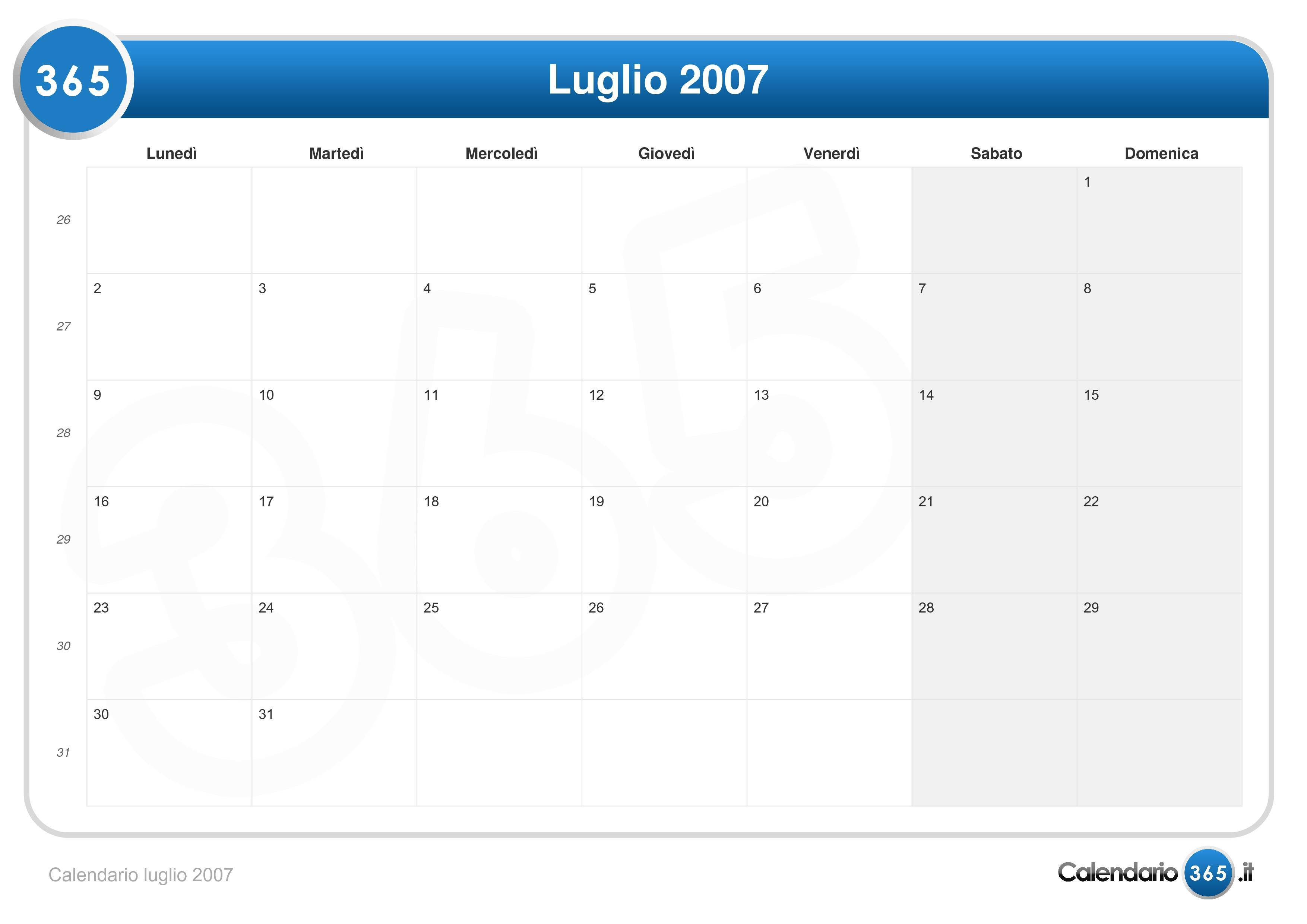Calendario Luglio 2007.Calendario Luglio 2007