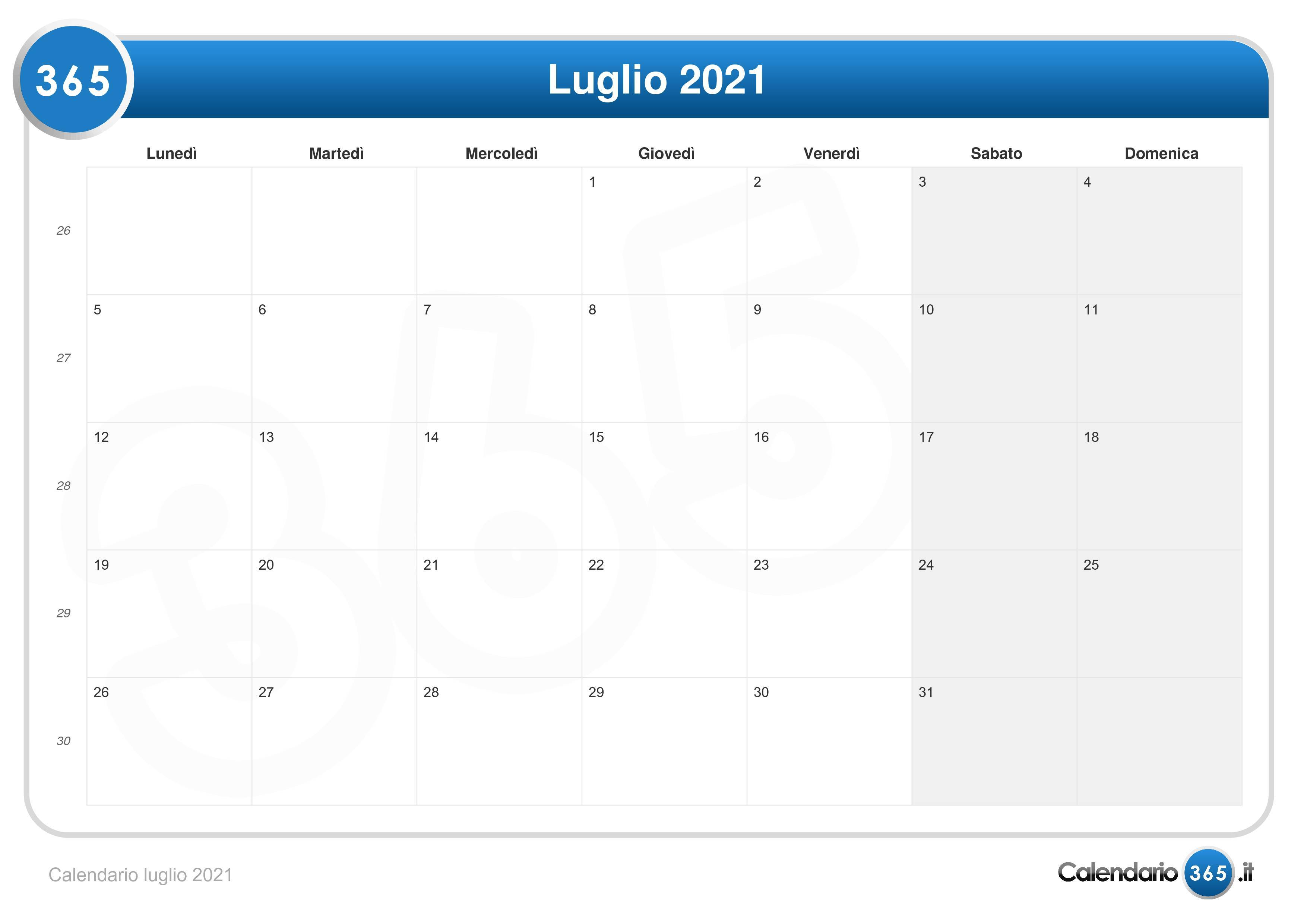 Calendario luglio 2021