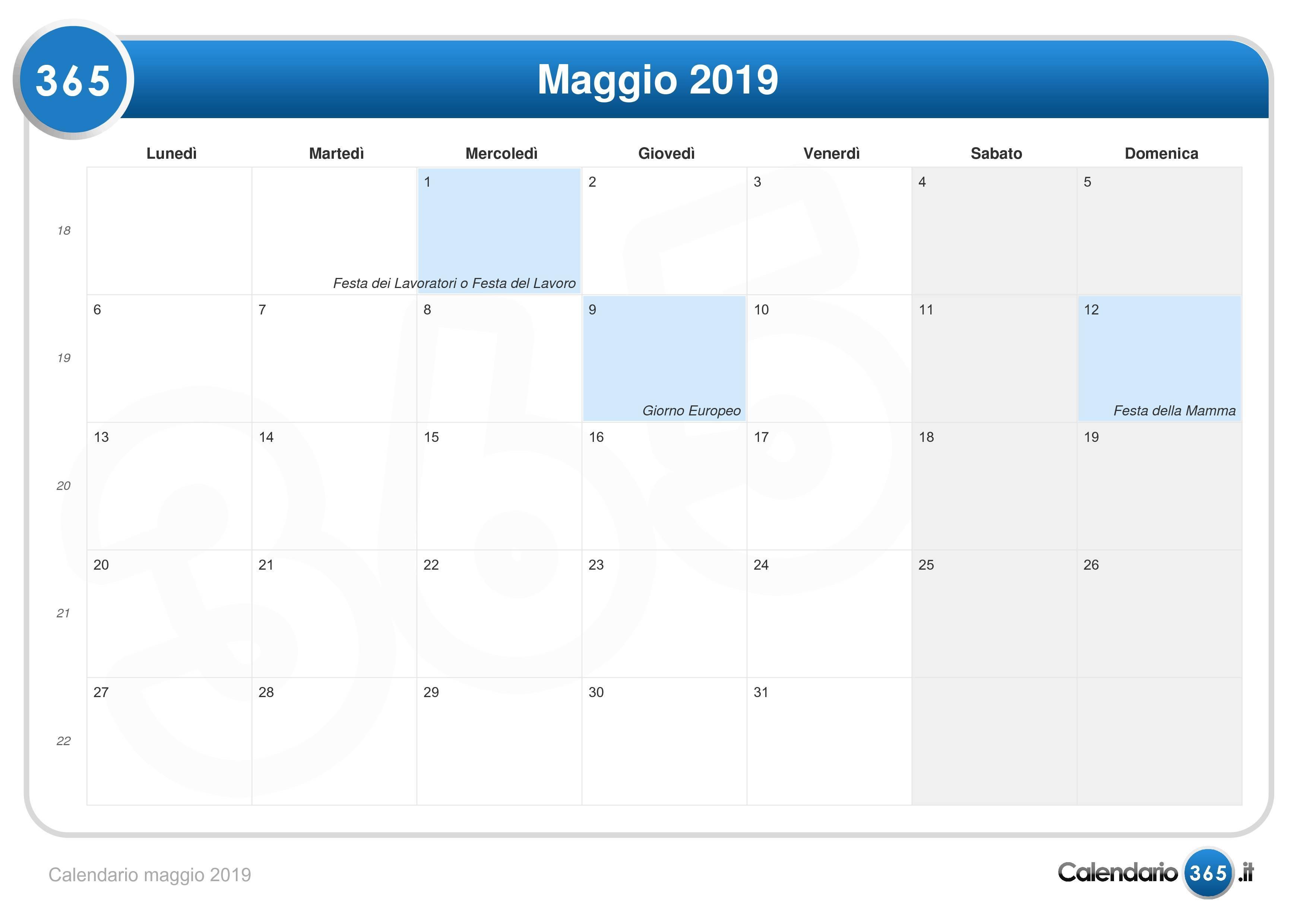 Calendario Lunare Maggio.Calendario Maggio 2019