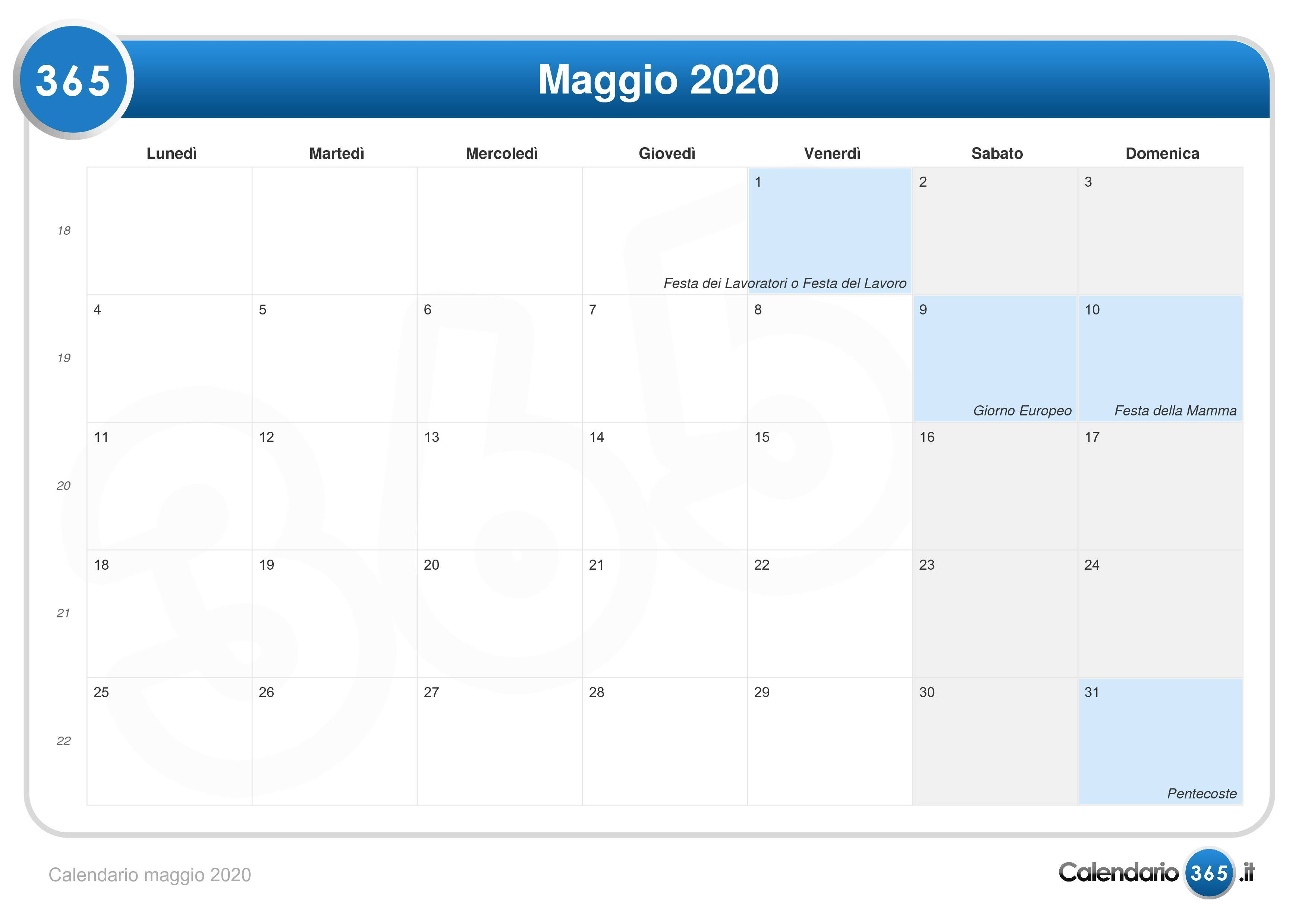 Calendario 2020 Settimanale Da Stampare.Calendario Maggio 2020