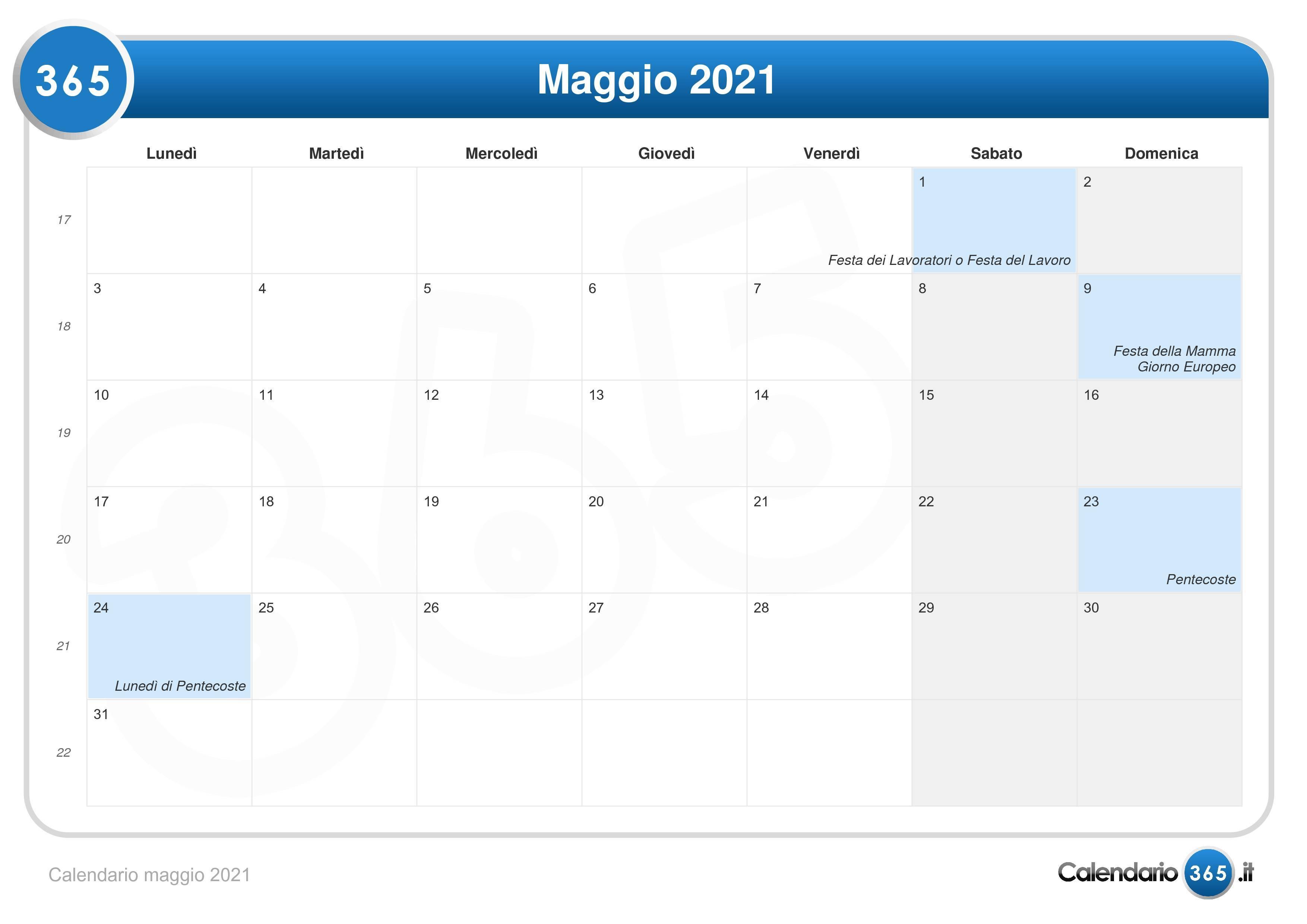 Calendario maggio 2021