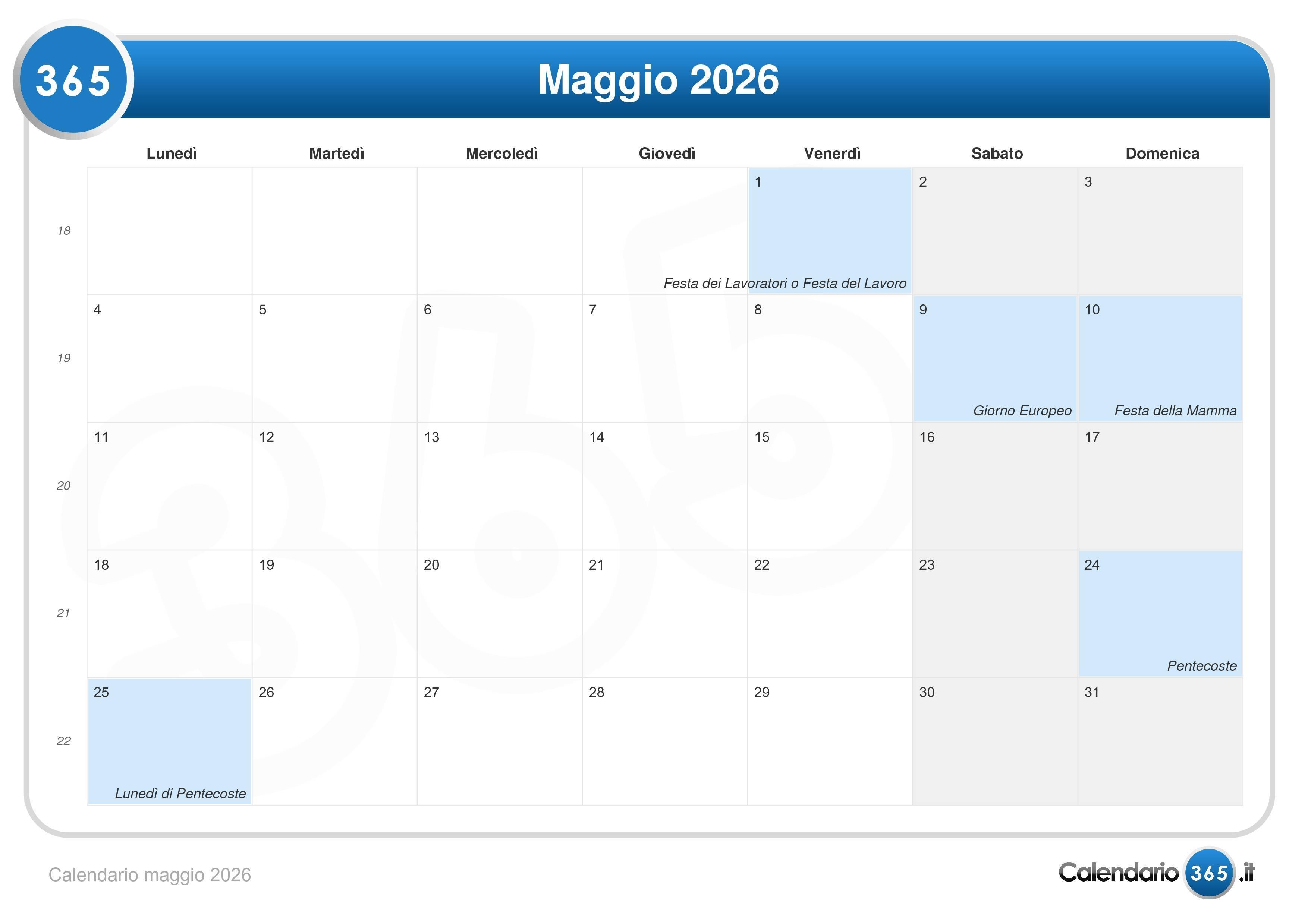 Calendario Maggio 2026