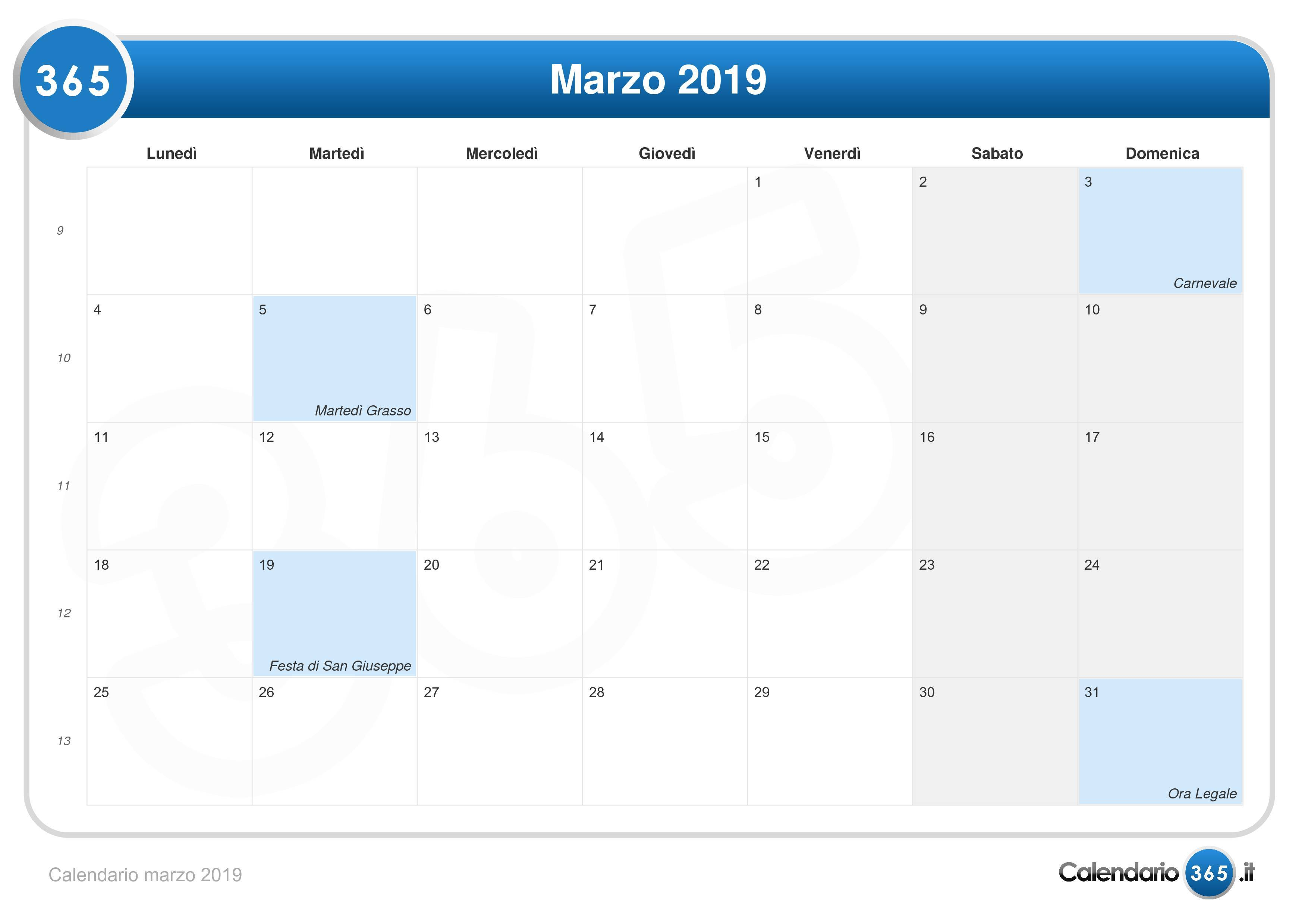 Calendario Di Marzo.Calendario Marzo 2019