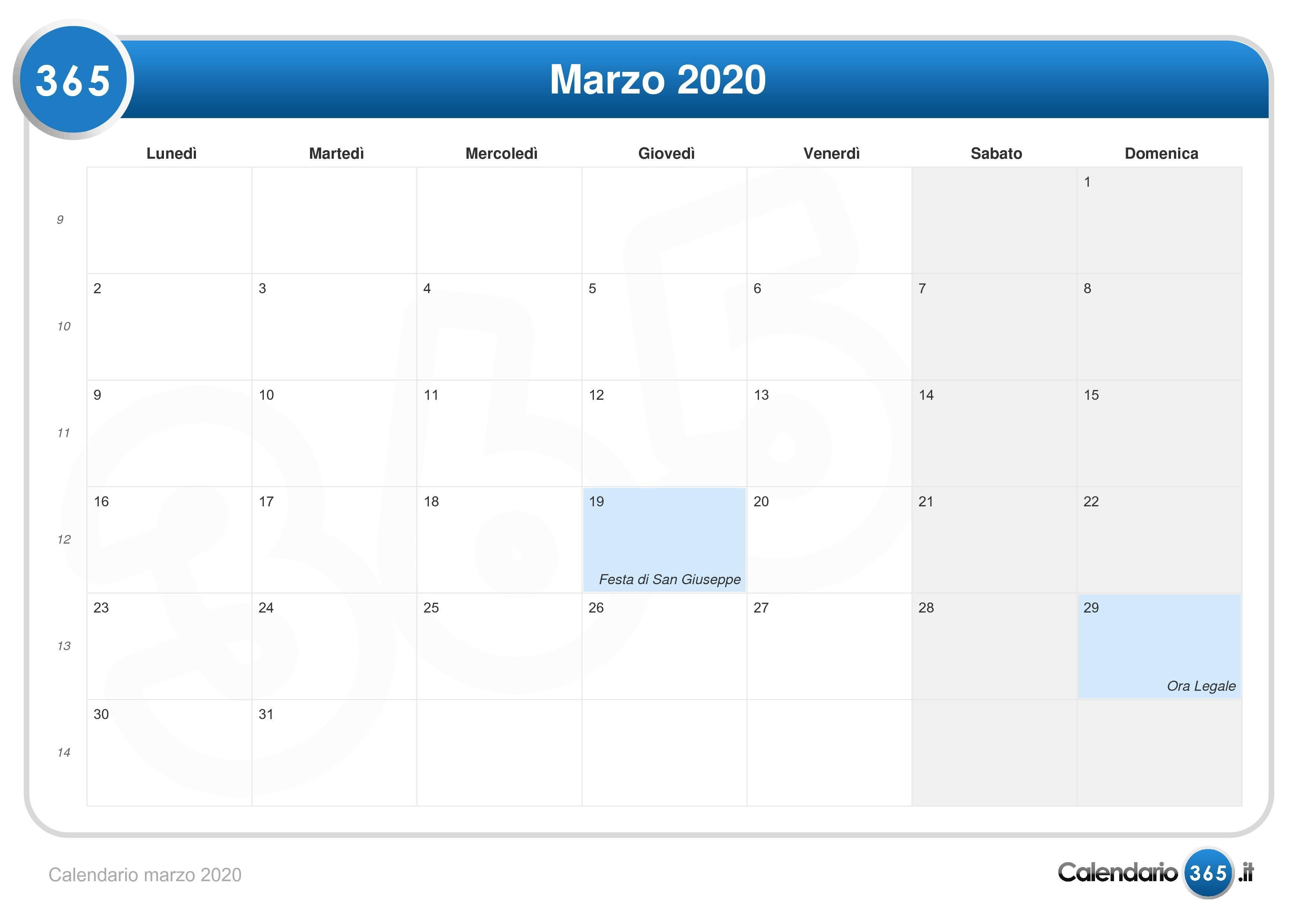 Calendario Marzo 2020.Calendario Marzo 2020