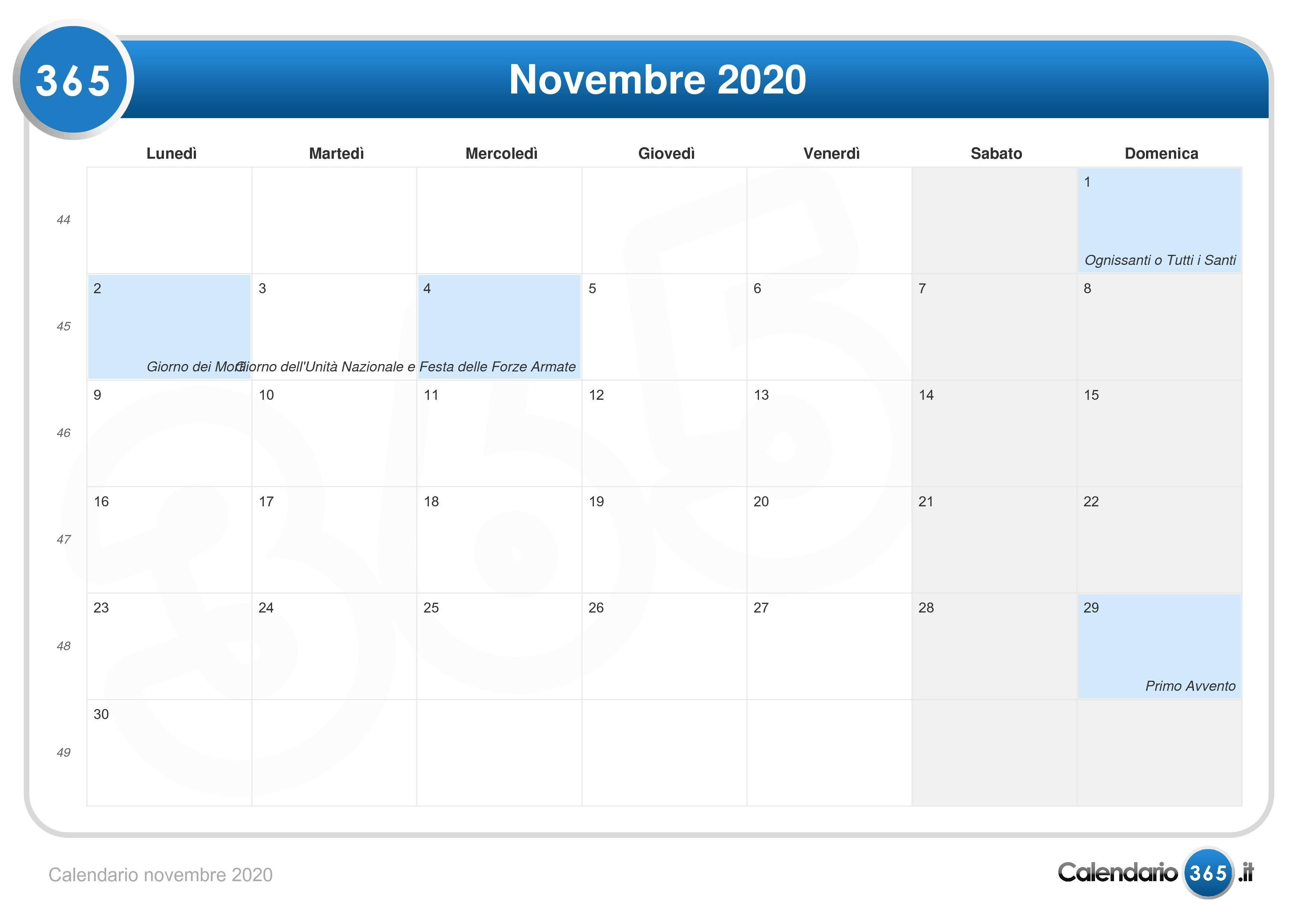 Novembre 2020 Calendario.Calendario Novembre 2020