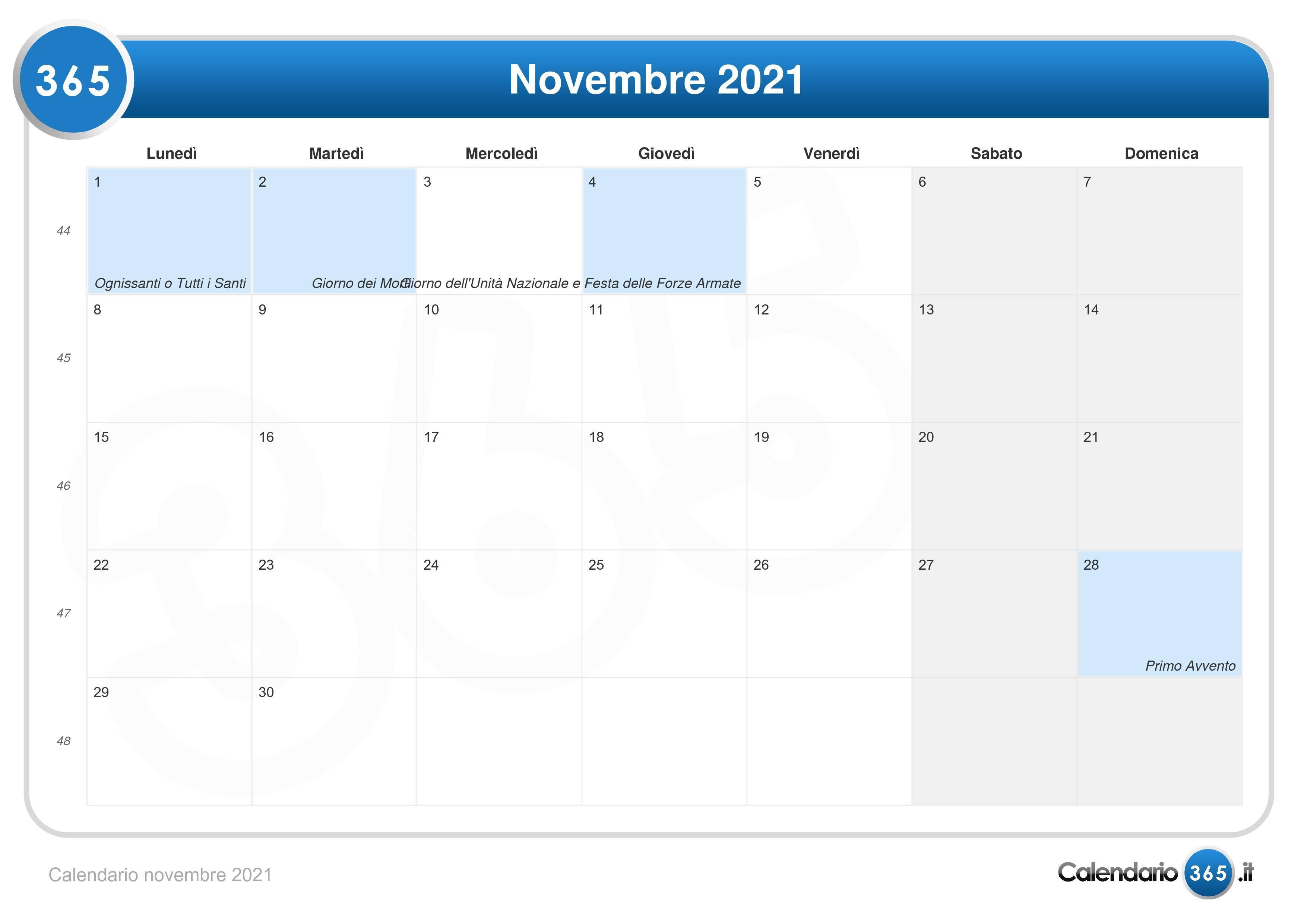 Calendario novembre 2021