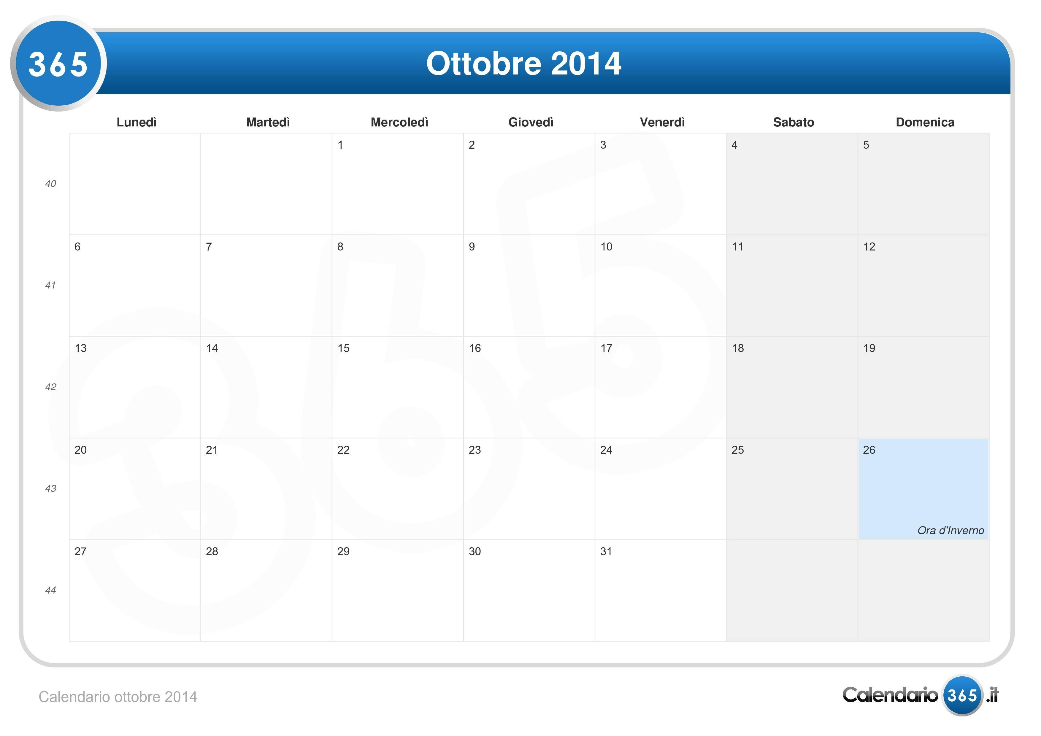 Calendario ottobre 2014