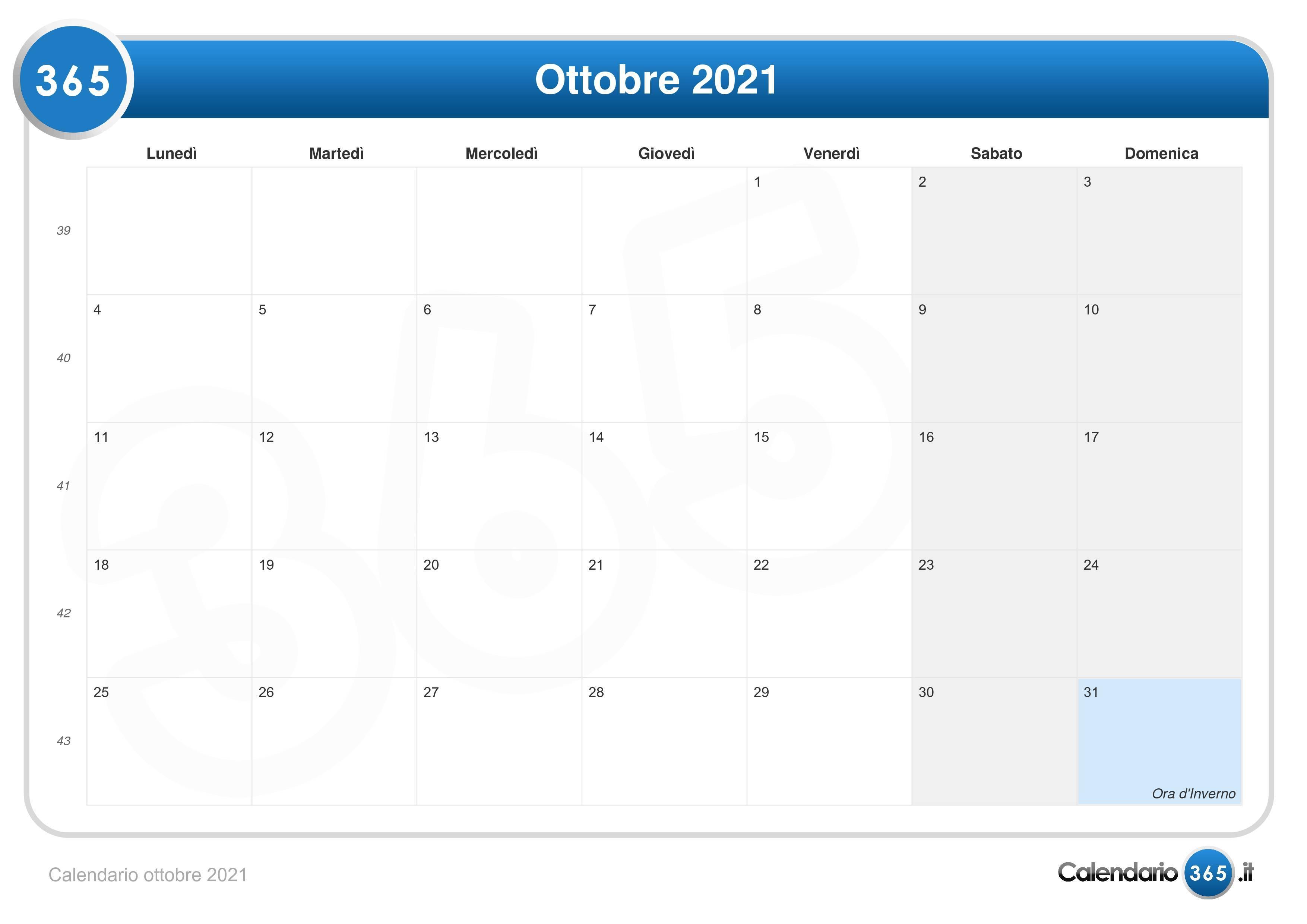 Calendario 1 Ottobre 2021 Calendario ottobre 2021