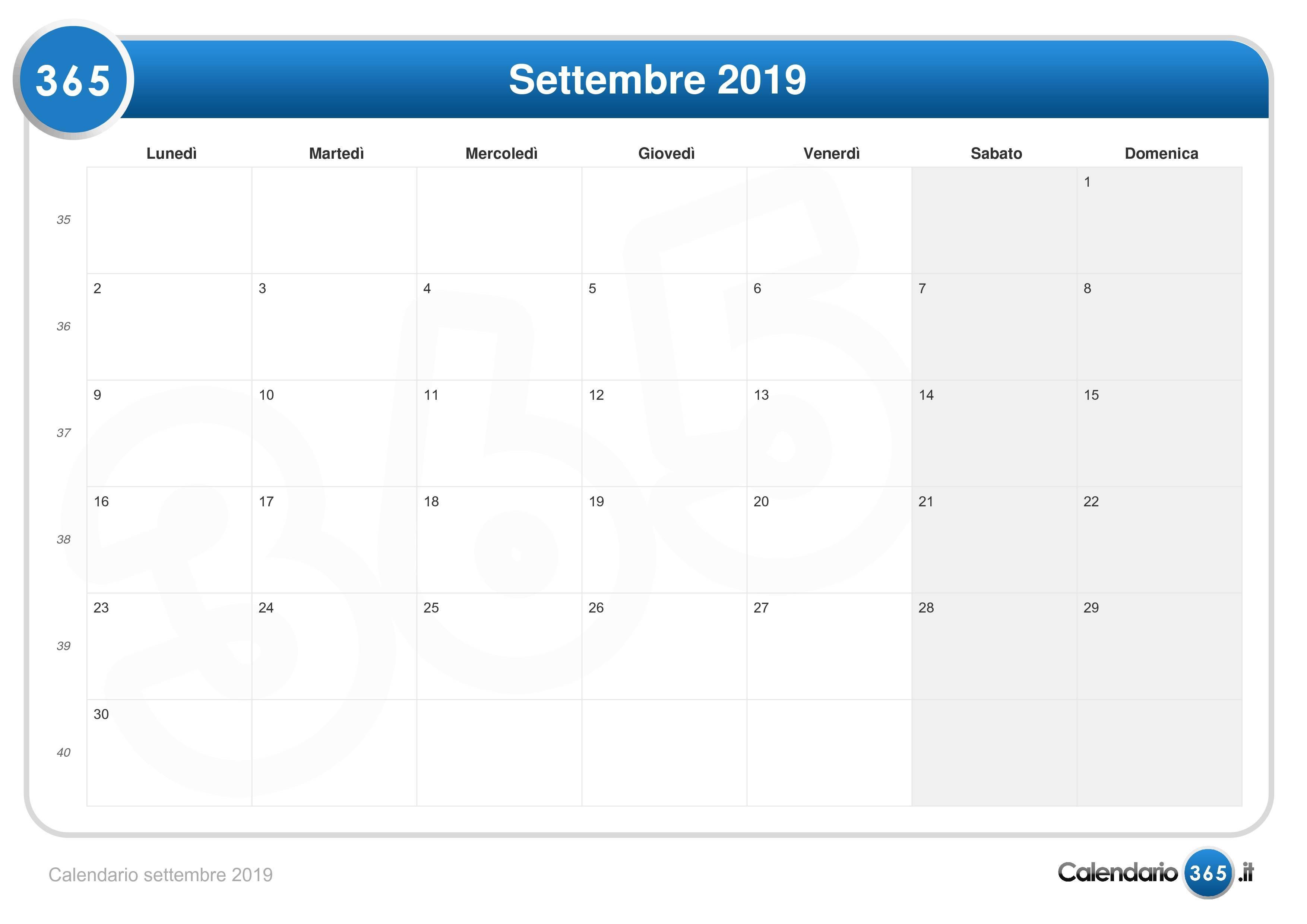 Schema Calendario Mensile.Calendario Settembre 2019