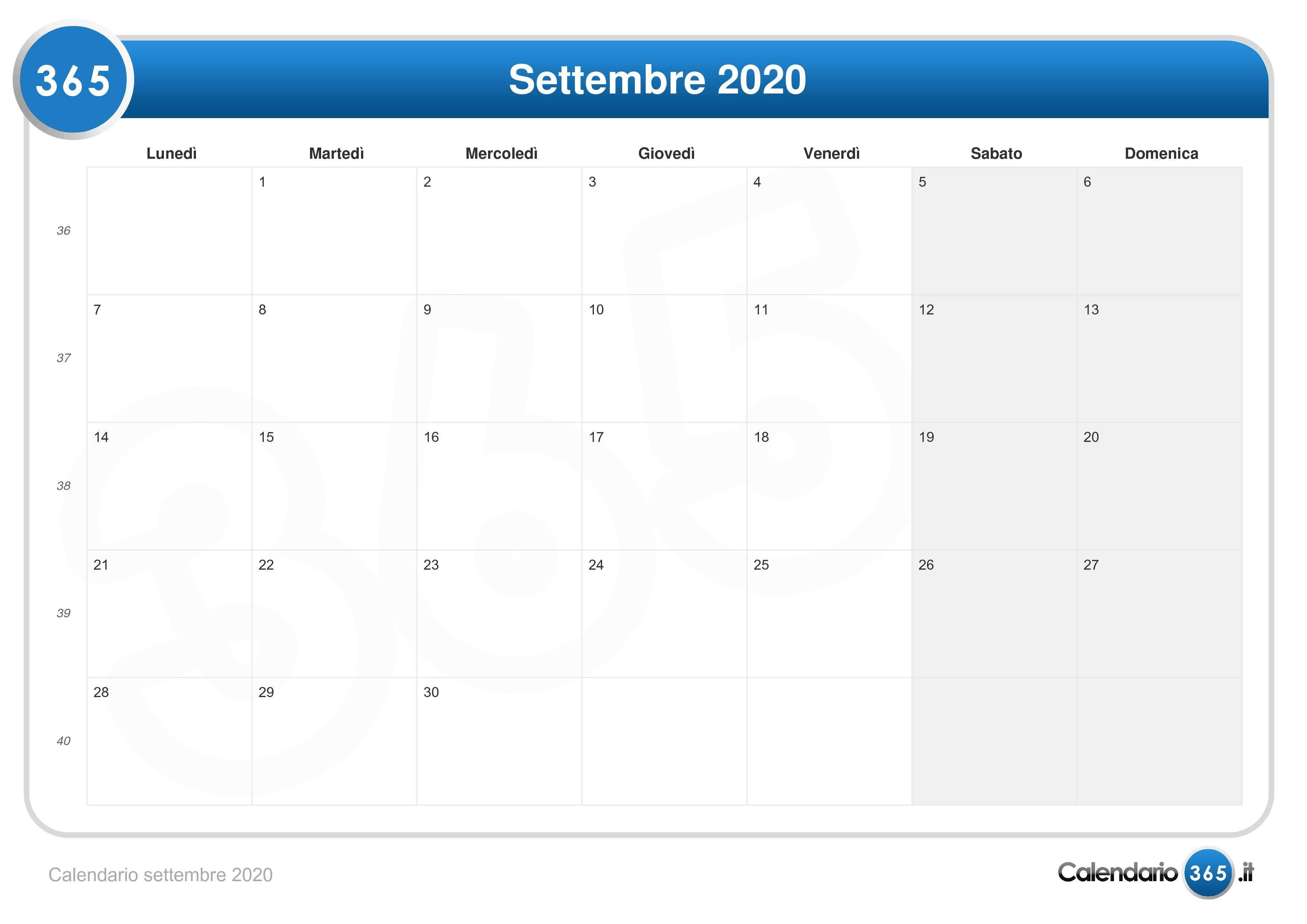 Calendario Fiscale 2020.Calendario Settembre 2020