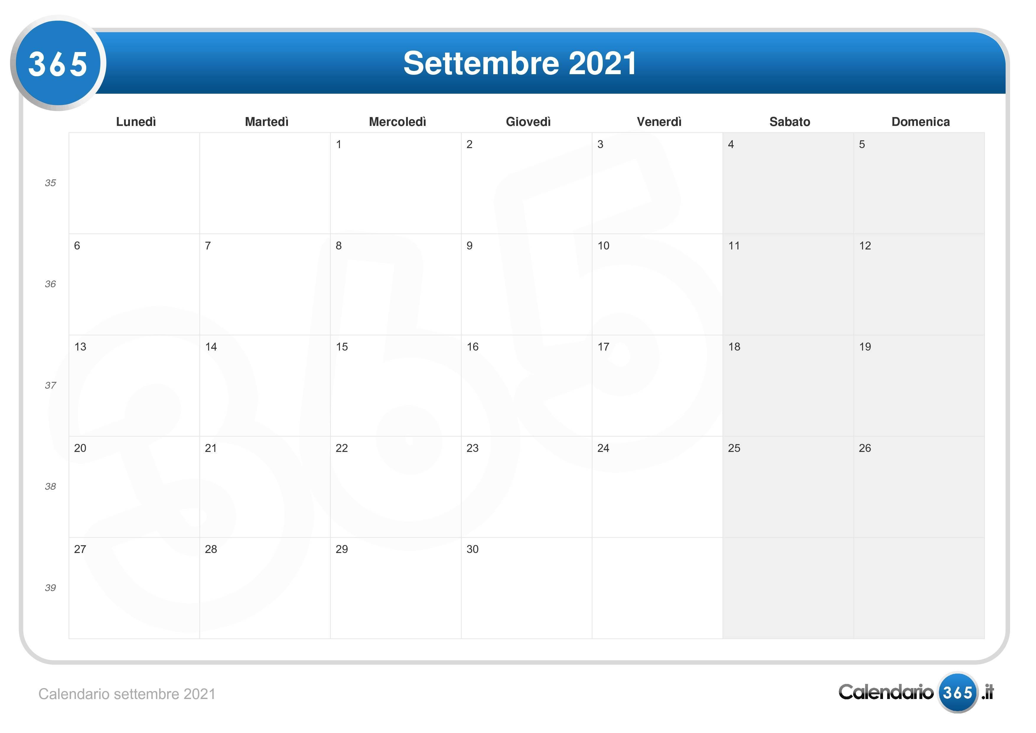 Calendario settembre 2021